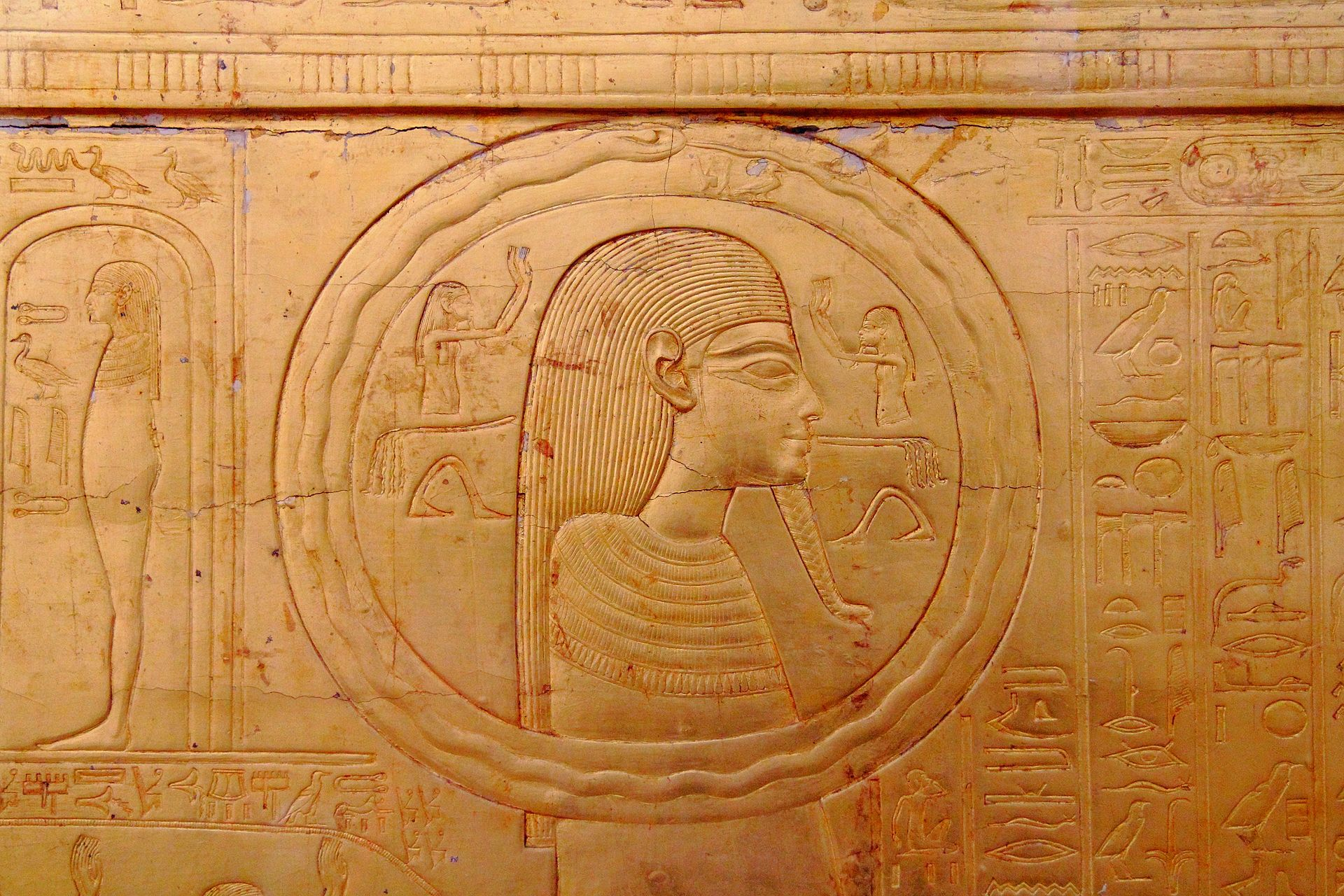 First known representation of Ouroboros on one of the sarcophagus of ToutAnkhAmun. Source:  Creative Commons Link Here