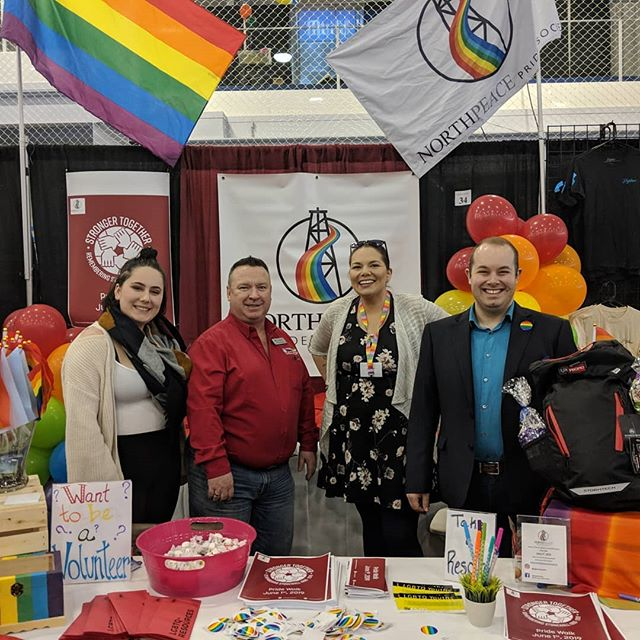 An amazing day at the trade show!  That you to everyone who came by and we can't wait to do it all again tomorrow.  Thank you to Councillor Grimsrud (and many others 😊) for your support in buying a 2019 Stronger Together t-shirt!  #fsjpridewalk #fortstjohntradeshow #northpeacepridesociety #northpeacepride #strongertogether #pridewalk2019 #fortstjohn #bcpeacepride #britishcolumbia #canada #lgbtq #completetherainbow
