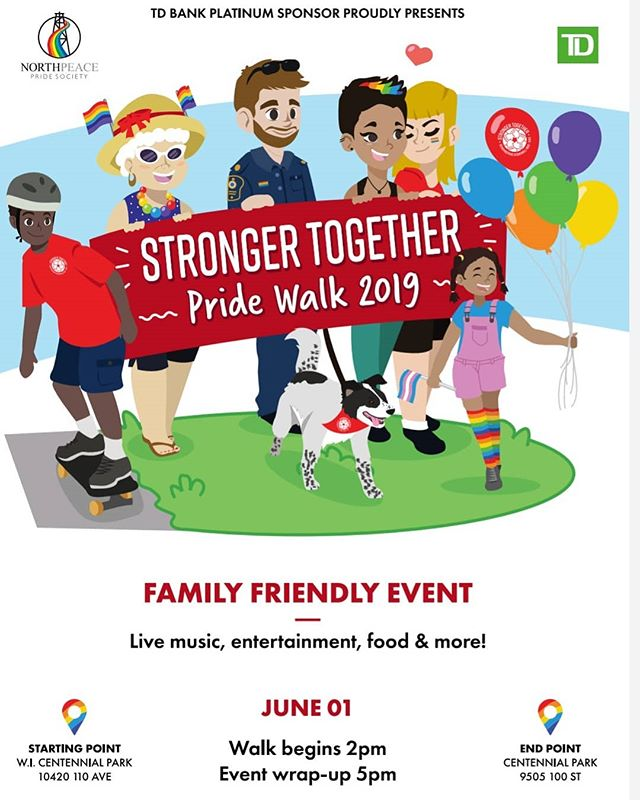 Hey everyone! Here is our official poster for our upcoming Pride Walk! Come on out and join us for a family friendly, fun filled afternoon! #bcpeacepride #northpeacepride #northpeacepridewalk2019 #pride🌈 #strongertogether #lgbtq #gay #fortstjohn