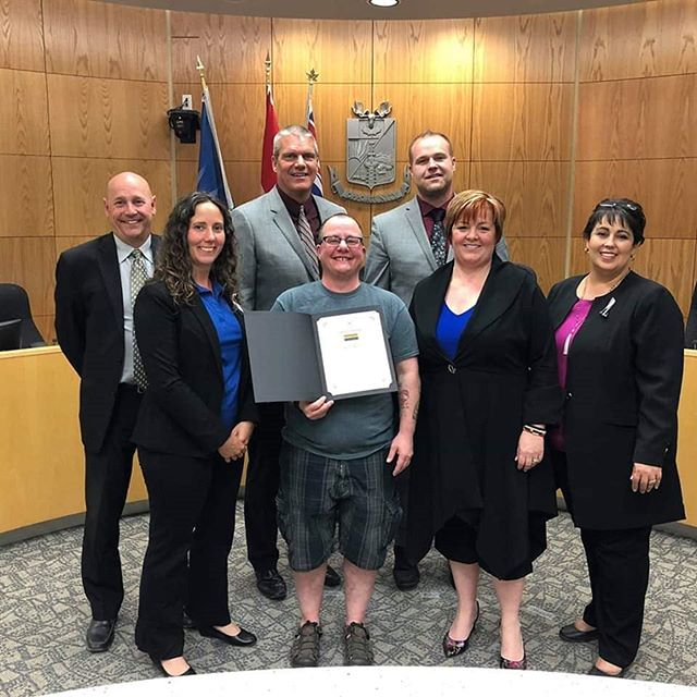 Here is one of our board members, Dustin Carnell, receiving the Proclamation from Mayor Lori Ackerman and the city council. Thank you City of Fort St John! *Photo credit: Tracy Teves Moose FM* #bcpeacepride #northpeacepride #northpeacepridewalk2019 #northpeacepridesociety #fsjpridewalk #cityoffortstjohn #fsj #pride🌈 #lgbtq #strongertogether