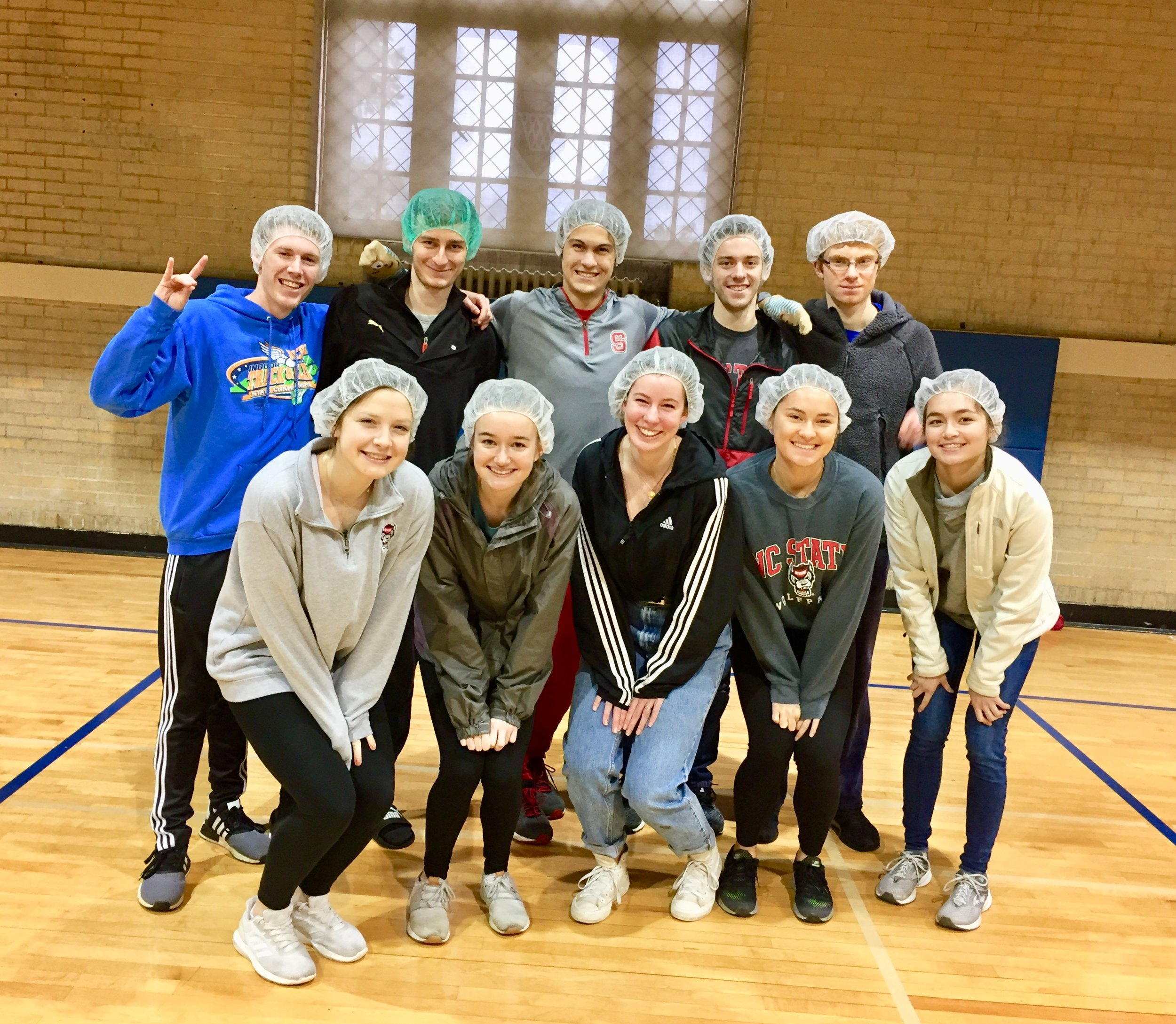 Club members at Duke University after a food-packing volunteer opportunity benefiting Servants with a Heart