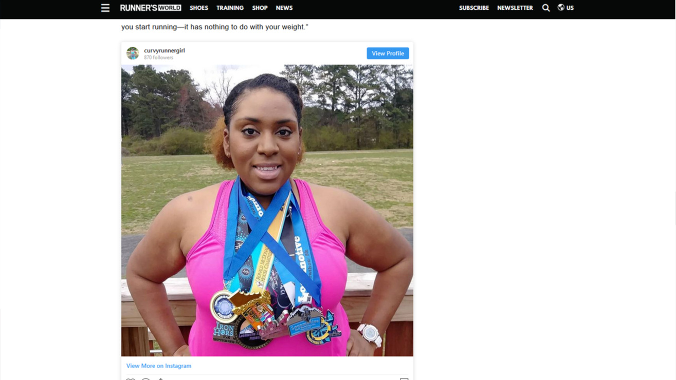 Runner's World article by Kiera Carter  mentioning Alesha Anchundia of Curvy Runner Girl on April 3, 2019