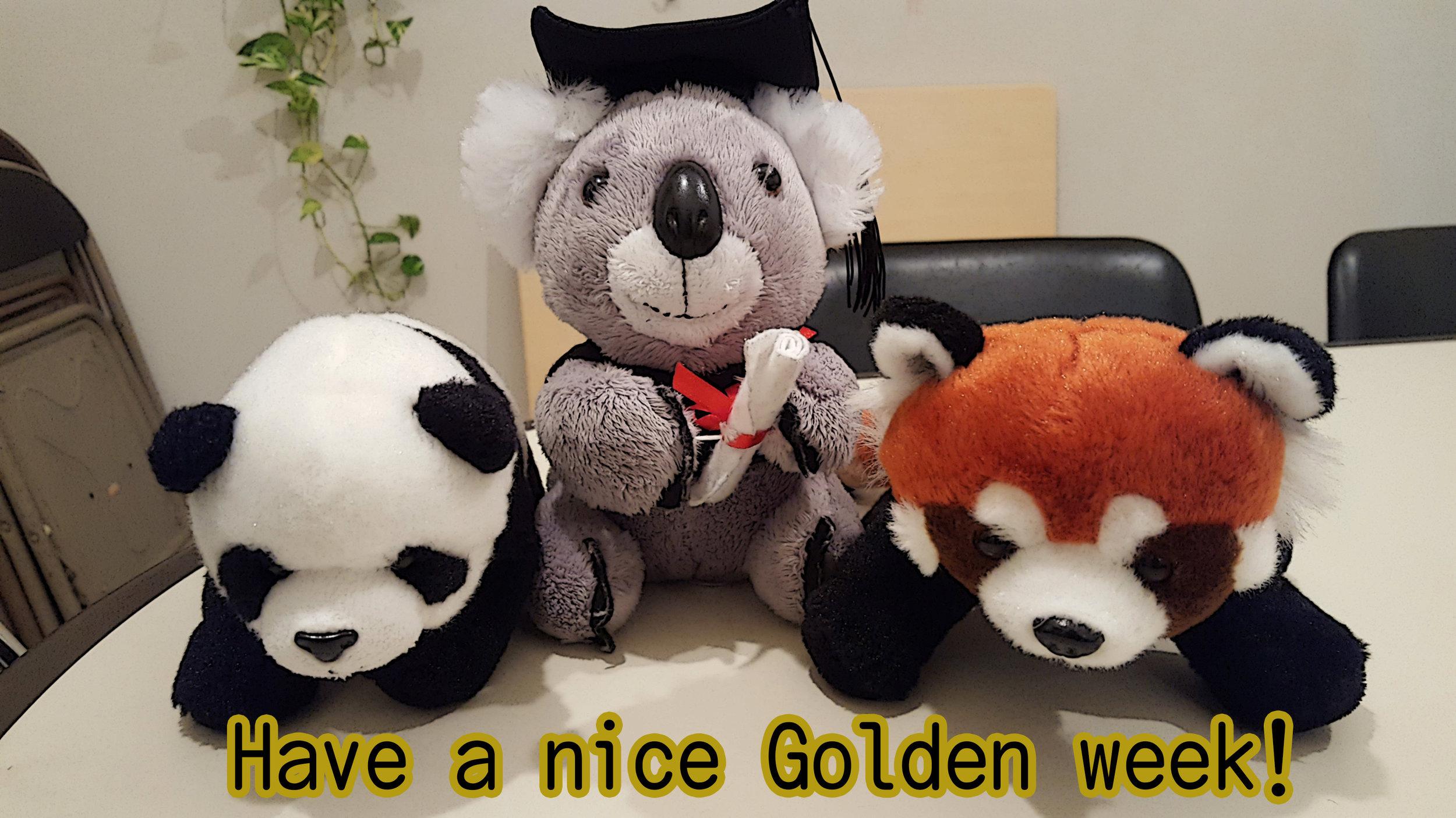 Shanshan, Kochan and Redchan would like to wish you all a nice Golden week :)
