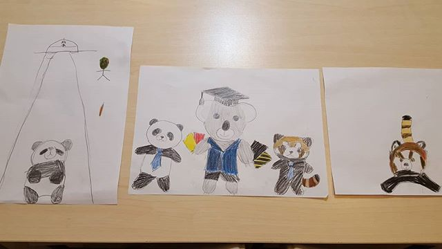 Early concept art of our future mascots drawn by our elementary students.  We talked about good and bad classroom behaviour which will be enforced by these characters.  #mascot #英語 #英会話 #高槻