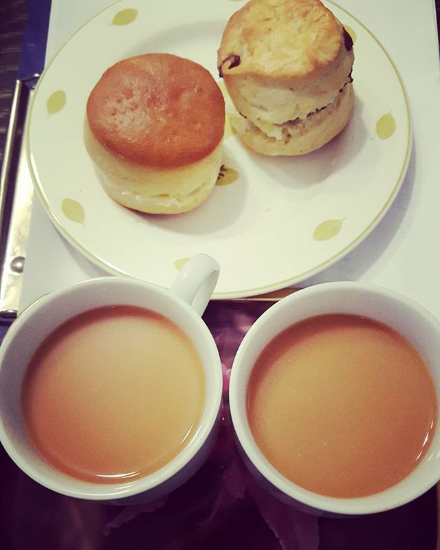 English scones and tea from Mr. Drew. He got them from an English fair in Umeda.  #England #イギリス #英語 #英会話