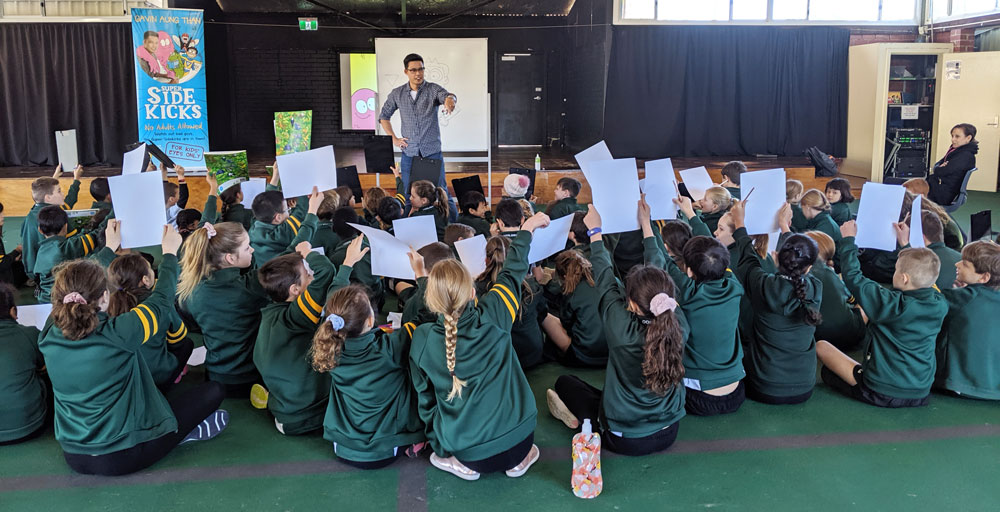 Doing a caricature workshop at Bold Park Community School.