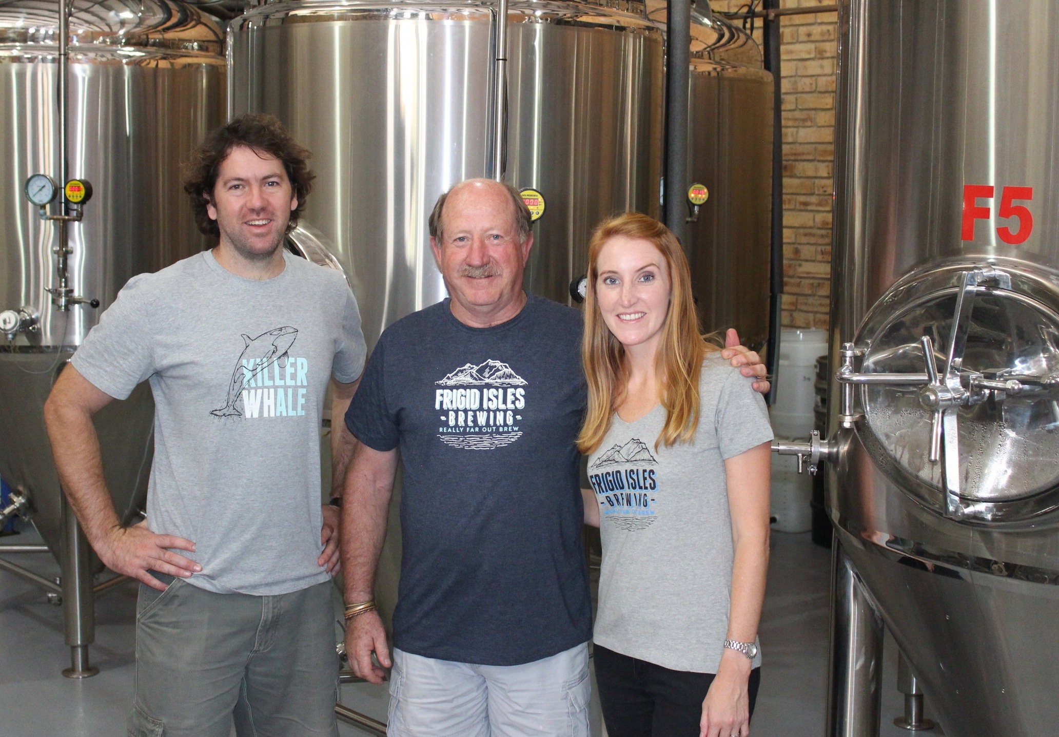 Nico, Mac and Kate - the Frigid Isles Brewing team.
