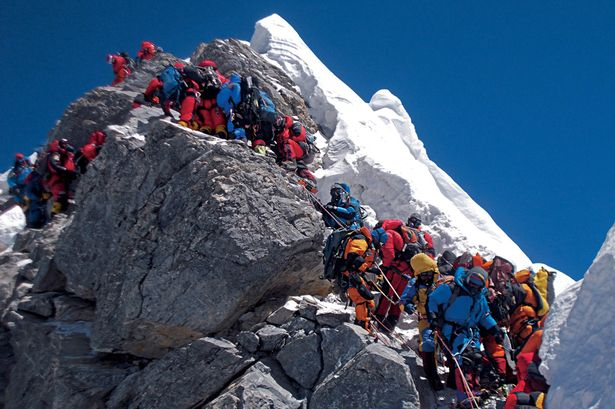 The summit ridge of Everest in this May's weather window