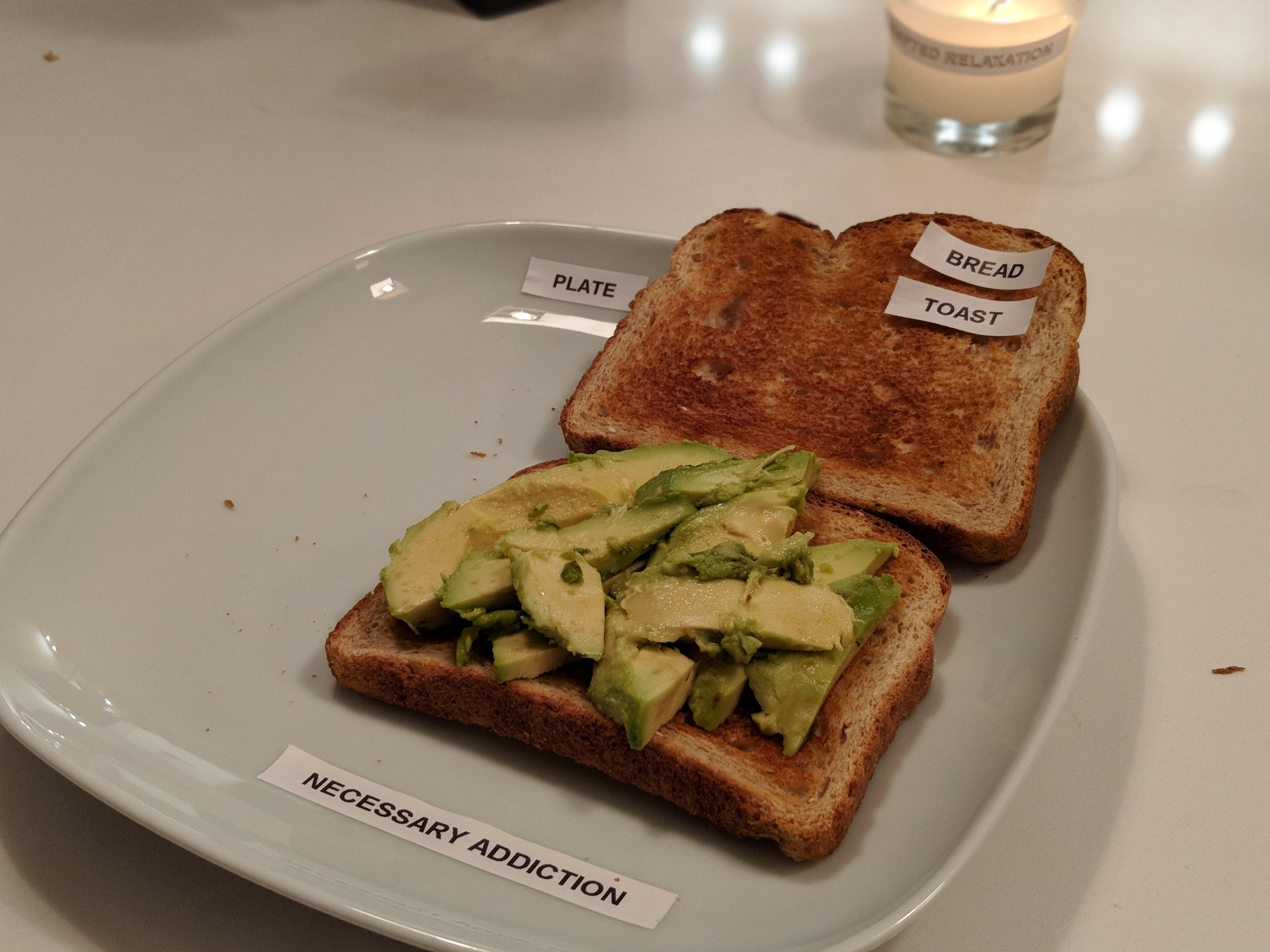 """Untitled, 2018 - Open sandwich with labels, 8 x 6"""""""