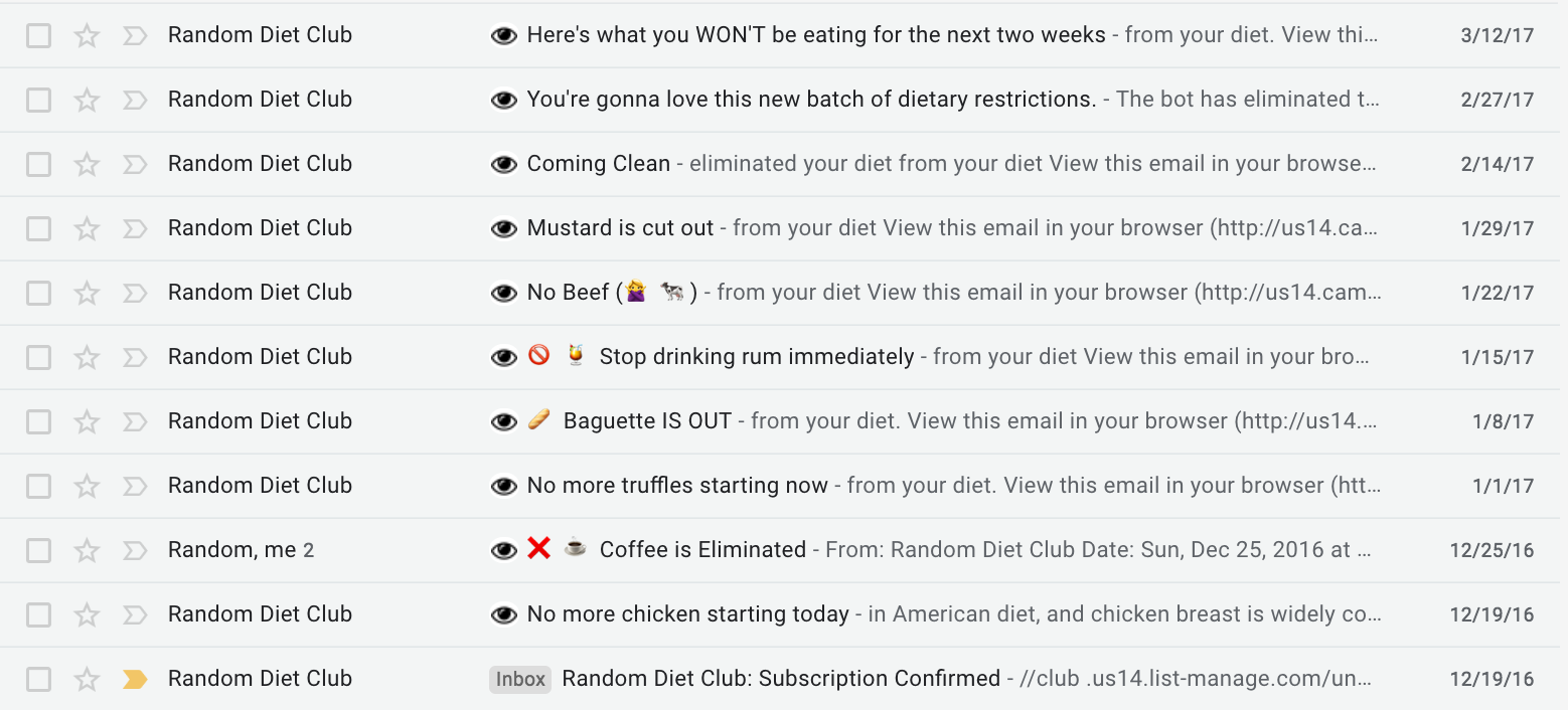 email screenshot from random diet club