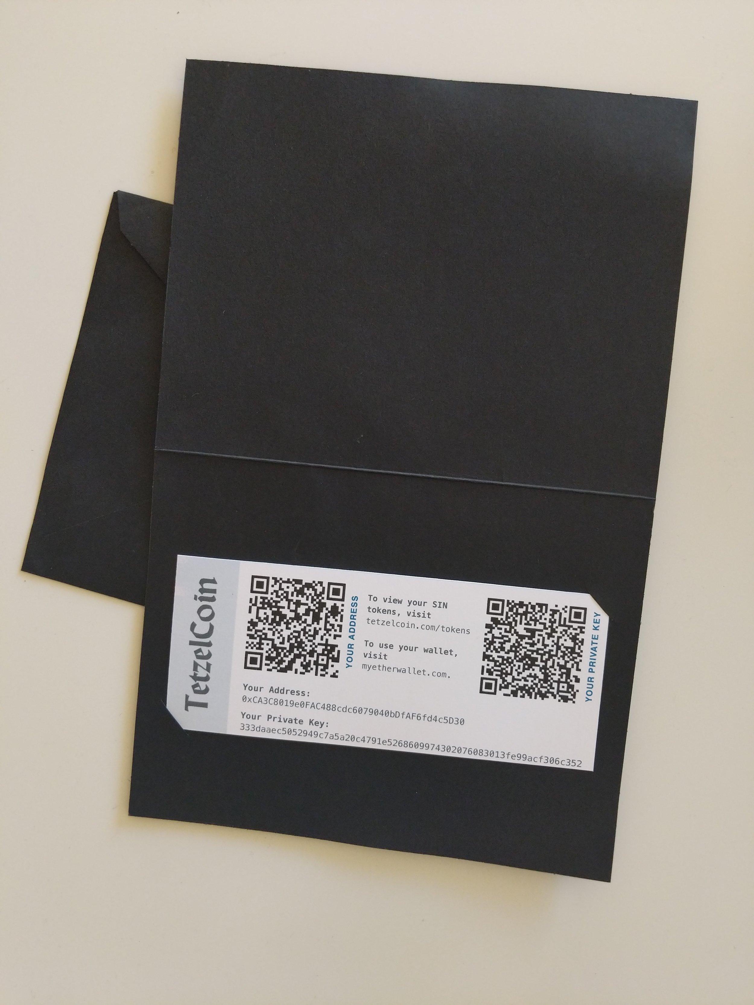tetzelcoin paper wallets