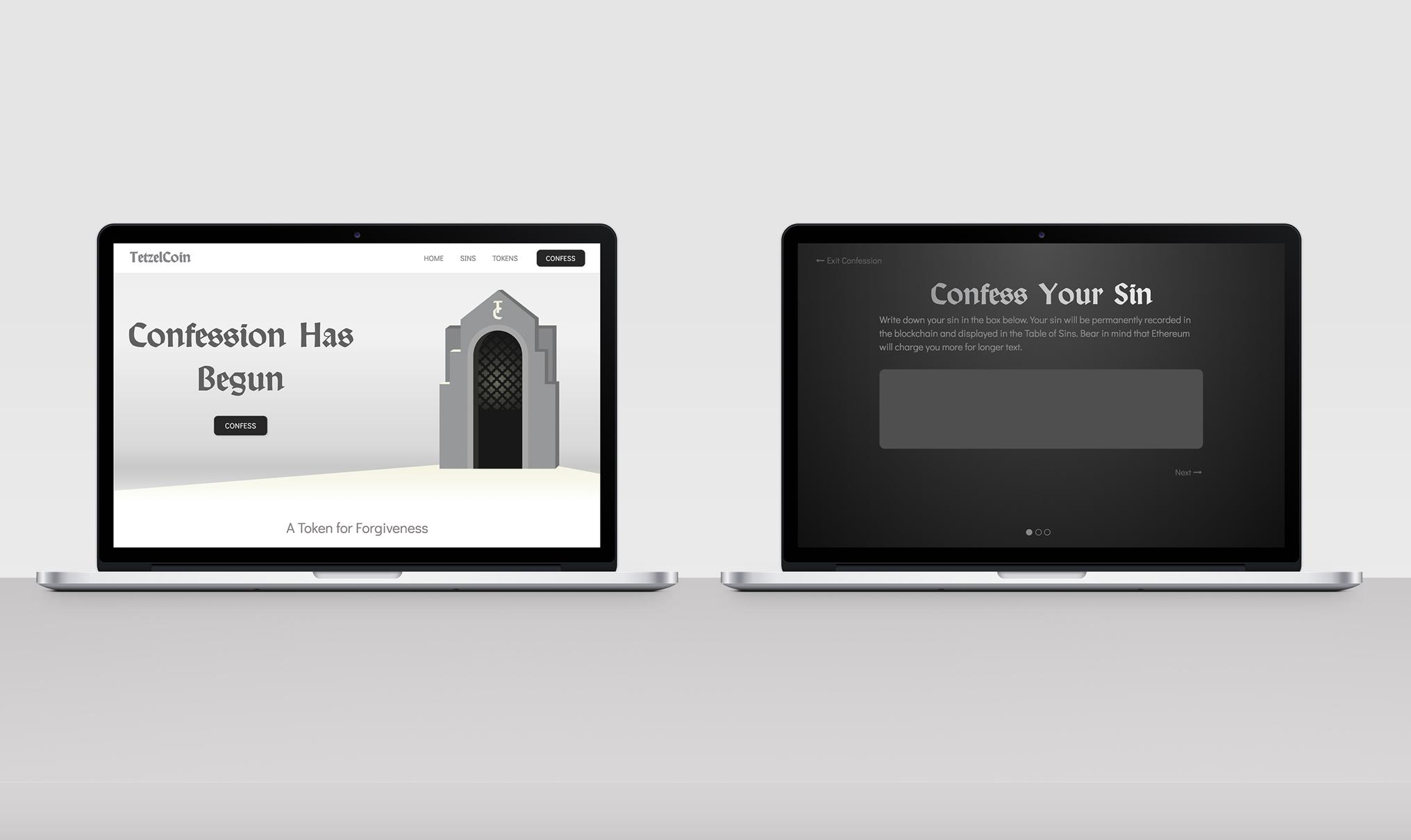 tetzelcoin website and app mockups