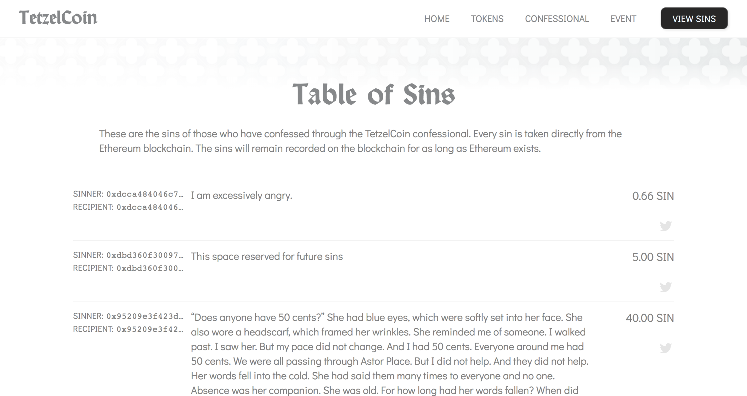 Table of Sins