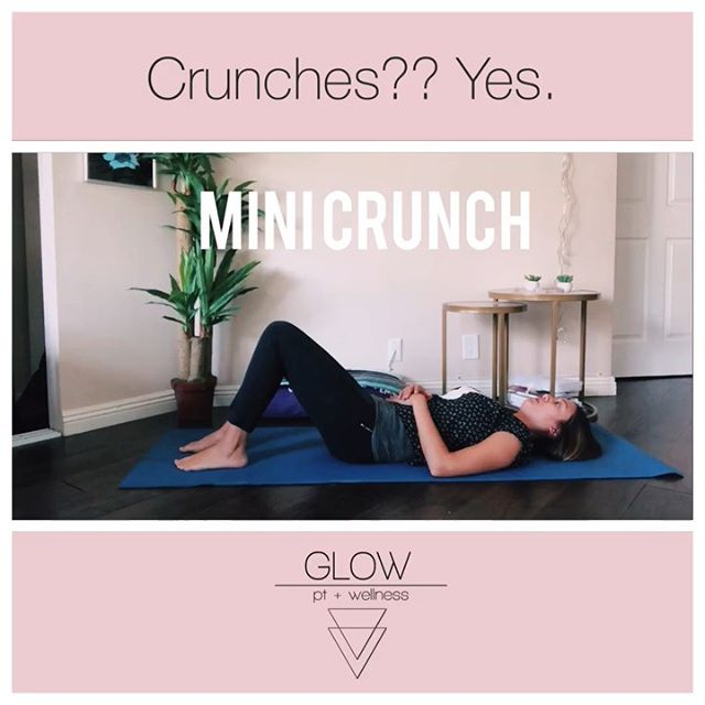 🏋🏽♀️Working Back Up to A Crunch After Pregnancy - Crunches get a bad rap because of diastasis recti (abdominal separation that can occur during and after pregnancy) and, fair enough. ❌When done incorrectly or without retraining the abdominal and pelvic floor muscles first, crunches can make symptoms of diastasis recti, pelvic organ prolapse, and low back pain WORSE - ‼️BUT, crunches should NOT be taken completely out of the equation just because you had a baby ✅You need to be able to perform that crunch movement safely to: get out of bed, pick stuff up, pick the baby up out of the crib, put dishes into the dishwasher, change the baby's diaper…etc etc the list goes on and on! - 🔑The key is baby steps 1. Retrain the transverse abdominis muscle to work together with the rest of your core muscles 2. Get the pelvic floor muscles involved - if they aren't, you have the potential of shifting all that intra-abdominal pressure downward (especially no good if you have prolapse) 3. Exhale with the effort 💨 - Check these exercises out - they all engage the pelvic floor and transverse abdominis muscle while performing a crunch or crunch-like movement 🔊Sound ON if you want to hear the inhales and exhales - Before you know it, you'll be crunching again just like you used to👏🏽👏🏽 - Have questions? Ask them here! Wanna work with me? Let me know! Make an appt with me at the Berlin Wellness Group on Tuesdays and Thursdays or I also make house calls 👏🏽👏🏽 Email me at anna@glowptandwellness.com ————————————— #youglowgirl #postpartumfitness #postpartumproblems #womenshealth #losangelesmoms #lamoms #pelvicfloorpt #pelvicpt #womenshealthpt #diastasisrecti #pelvicorganprolapse