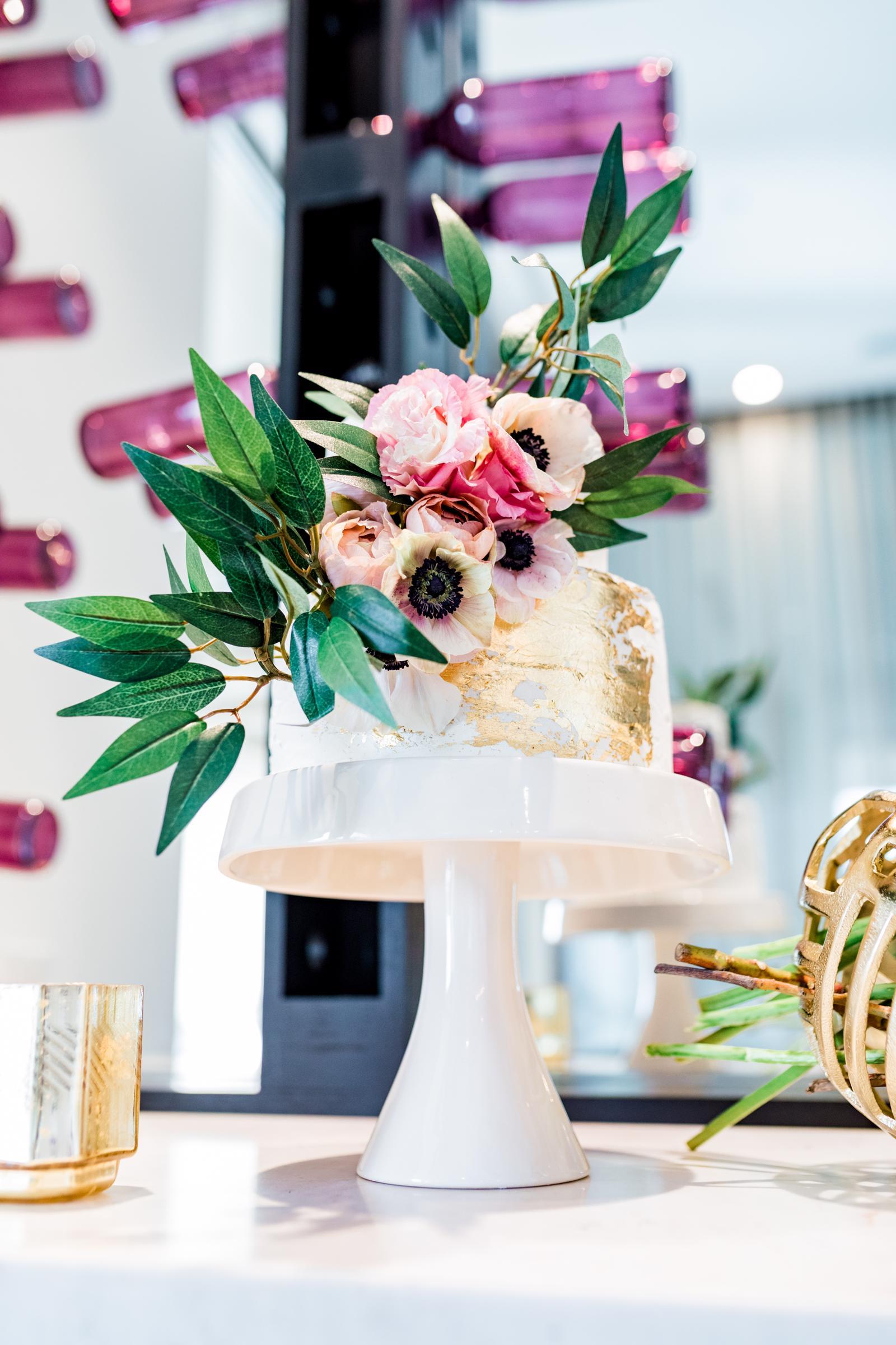 Gray Sage Event Design Gold Foil Cake