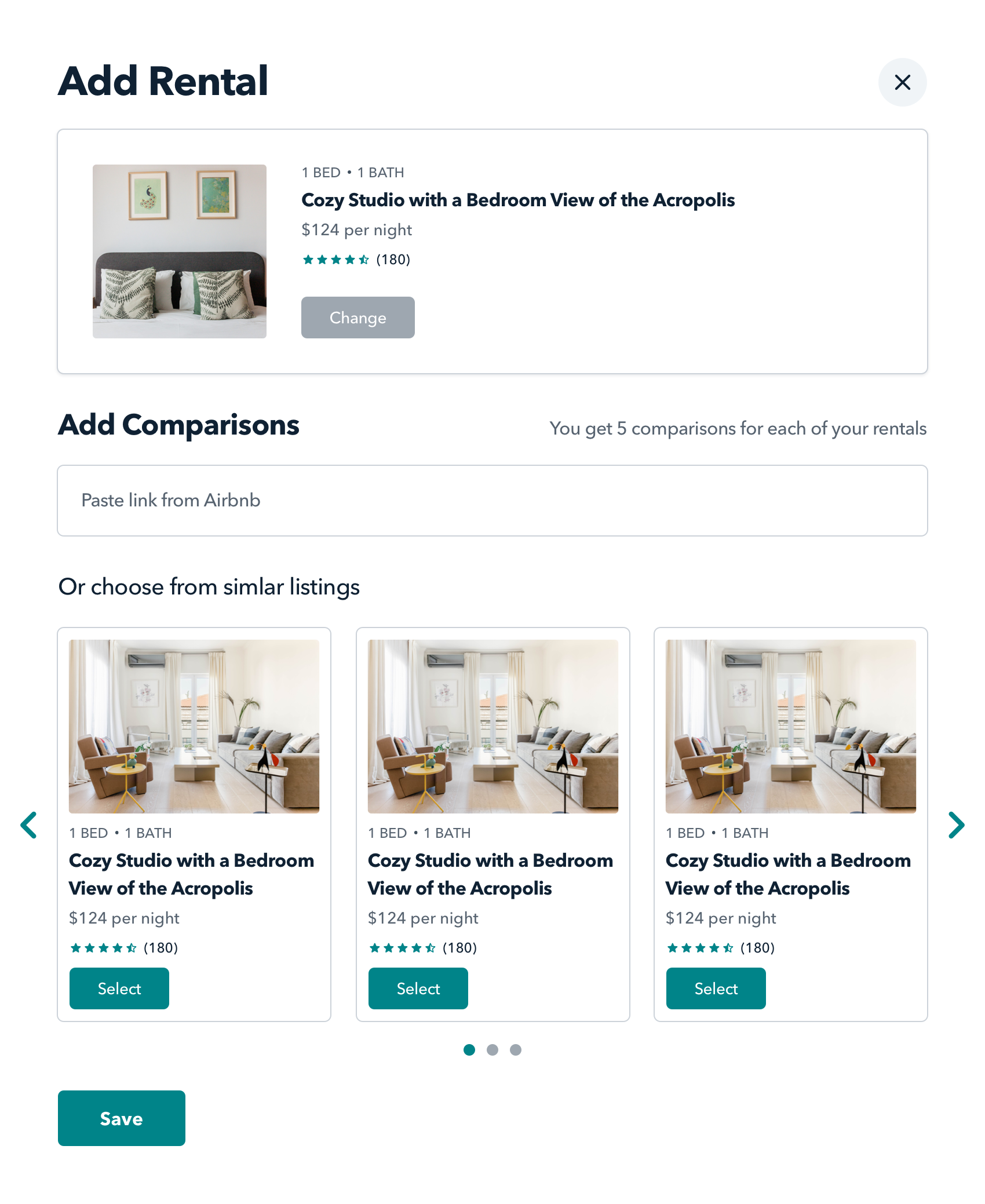 Pricing comparisons for your most direct competitors - Each of your properties competes with a handful of similar properties for the majority of your bookings—those in the same neighborhood with comparable reviews, nightly rates, and amenities.Identify up to 5 competitive properties to track for each of your own, or choose from AirBnB's recommended similar listings.