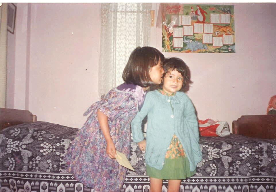 My sister and I circa 1991, My dress-Mrs Hazarika's, Sister's dress-Mrs Hazarika's.