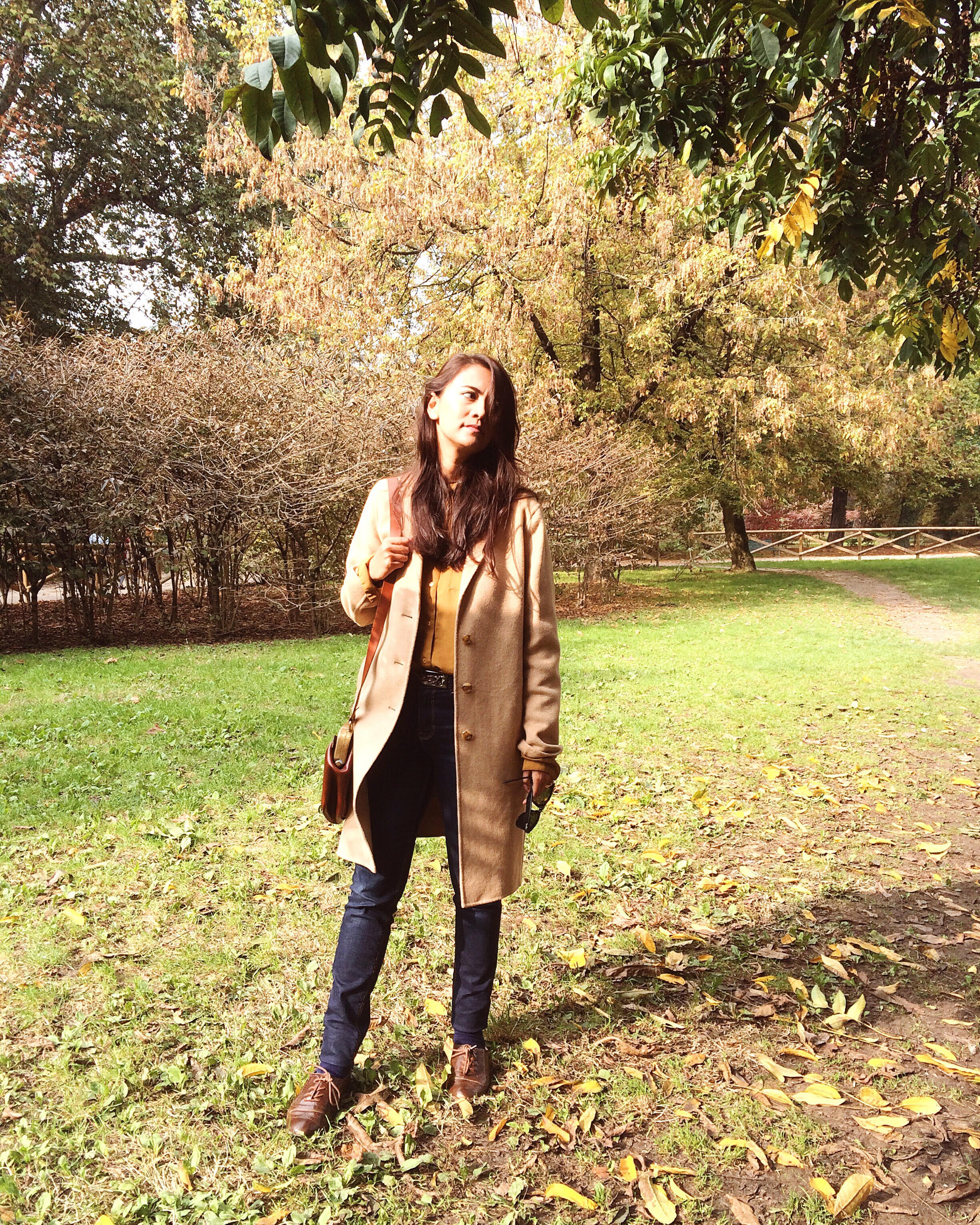 Me at Sempione Park, Coat-The Gap, Top-Sarojini Nagar, Jeans-Zara, Shoes-Aldo, Bag-Pfiebo