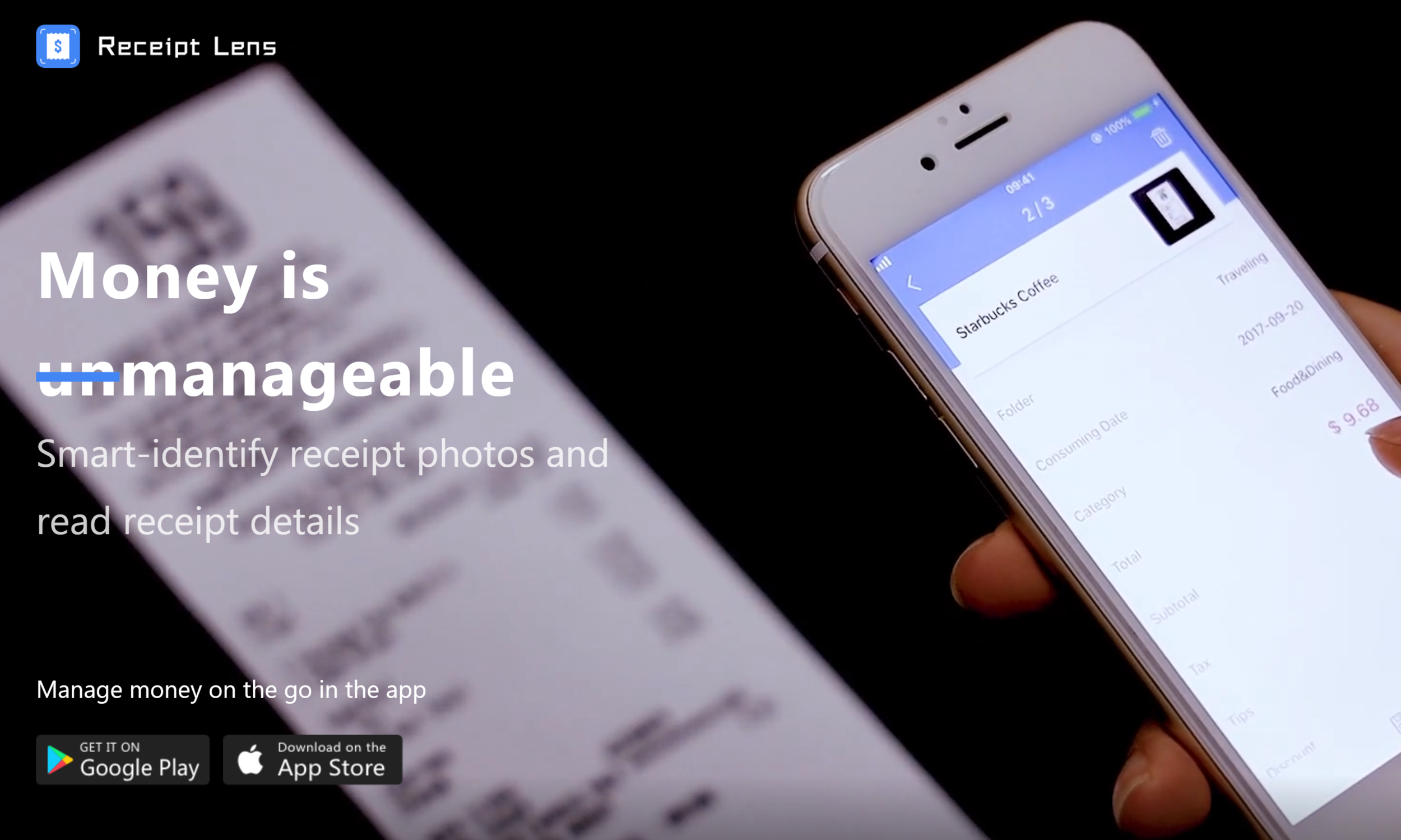 Receipt Lens - A Google and iOS App for smart identification of receipt photos, with support of various types of receipts and invoices. Receipts can be categorized, tagged, and grouped into customized folders that can also be shared.. Selected receipts can be generated into your expense reports or exported into e-mail and QuickBooks.