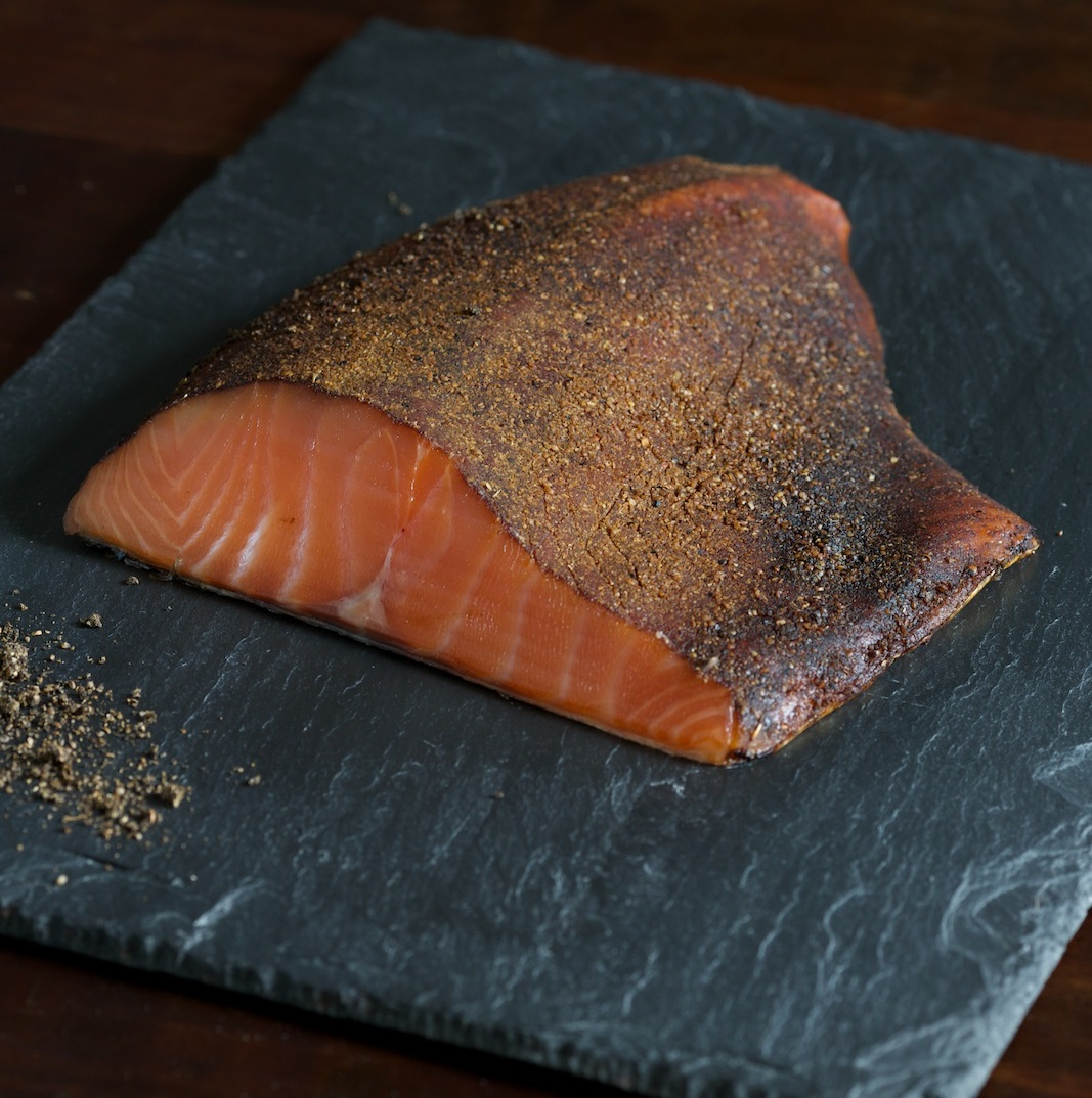 Pastrami Smoked Salmon - A New York appetizing specialty. Delicious cold smoked salmon rubbed with a pastrami spice.