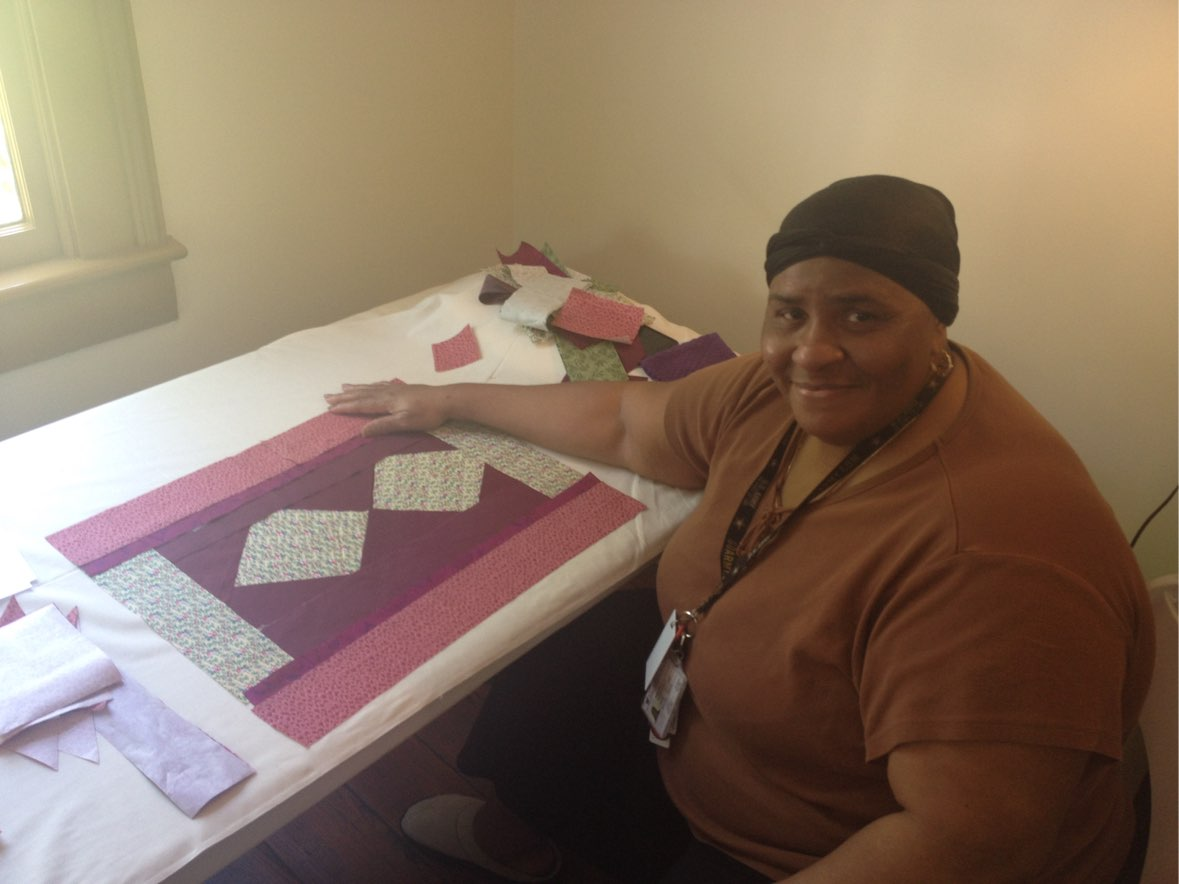Marion Street High Rise resident during the quilting workshop
