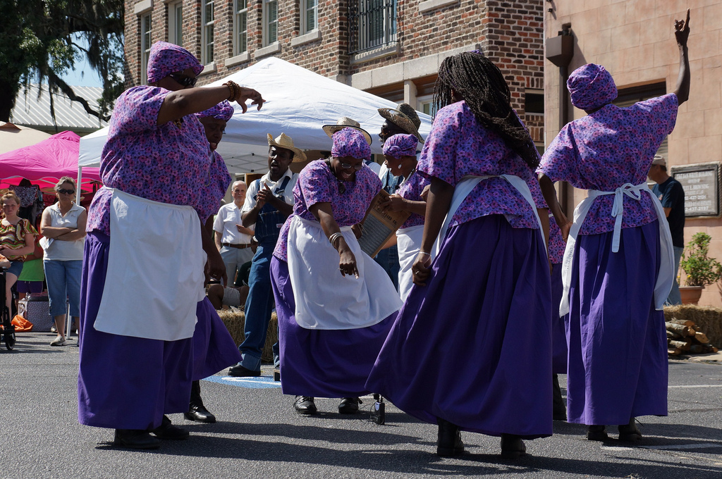 """The Geechee Gullah Ring Shouters performing at South Carolina State University's I.P. Stanback Museum and Planetarium during the opening of """"From Africa to Gullah II"""