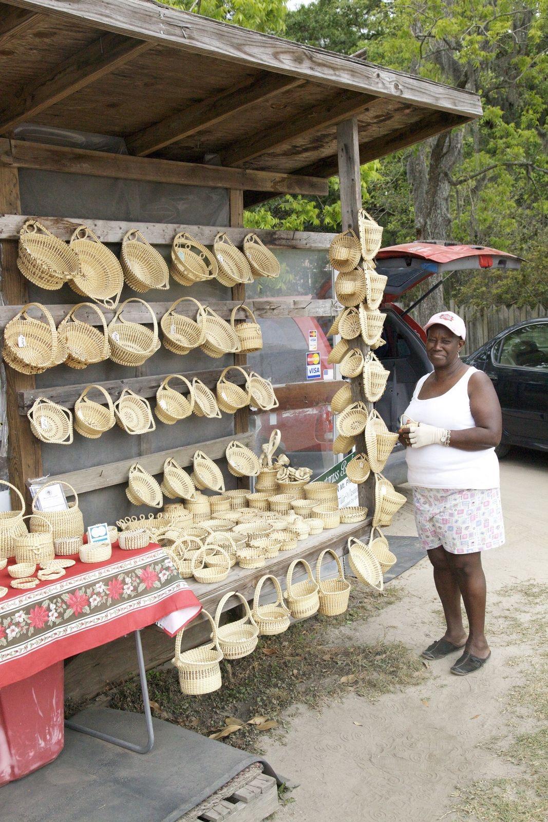 Sweetgrass basket weaver along Route 17, Mount Pleasant, Charleston County, South Carolina