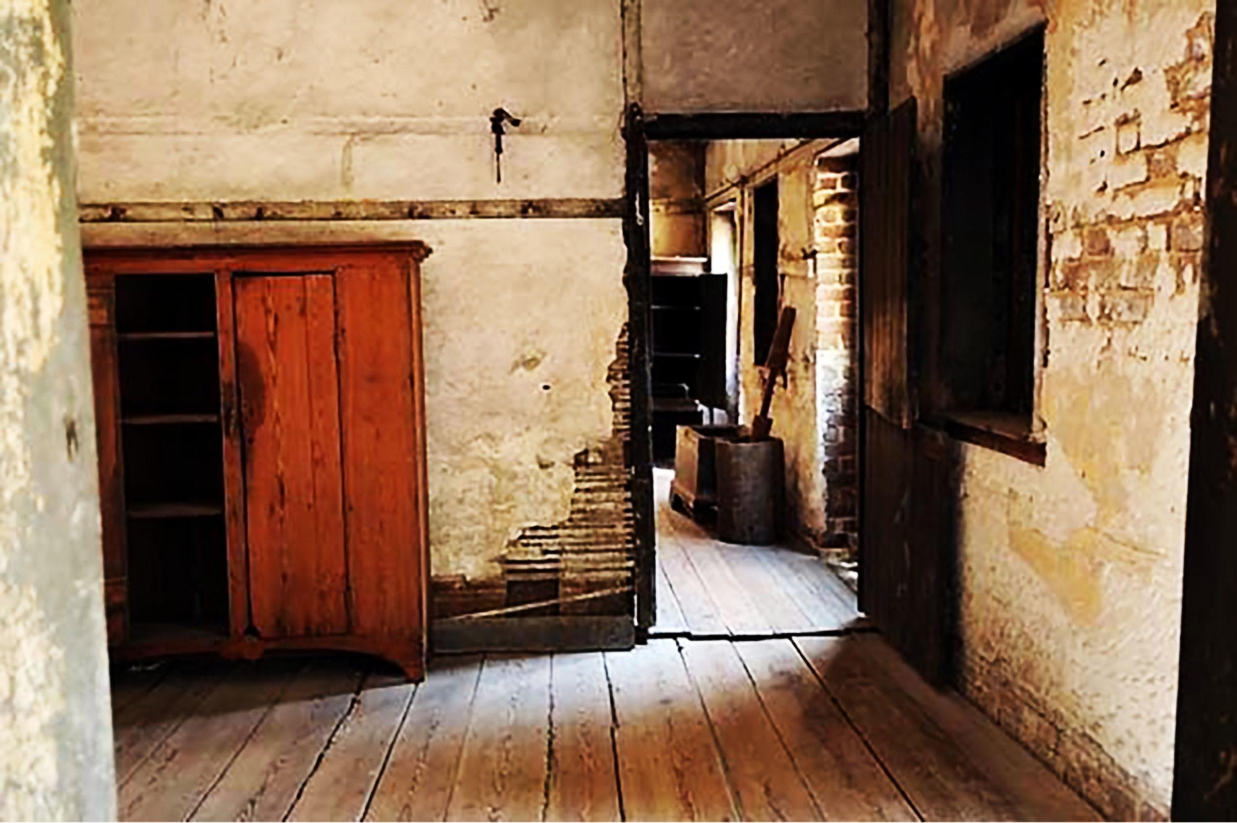 Interior of slave quarters warming kitchen on the first floor of the Aiken Rhett property