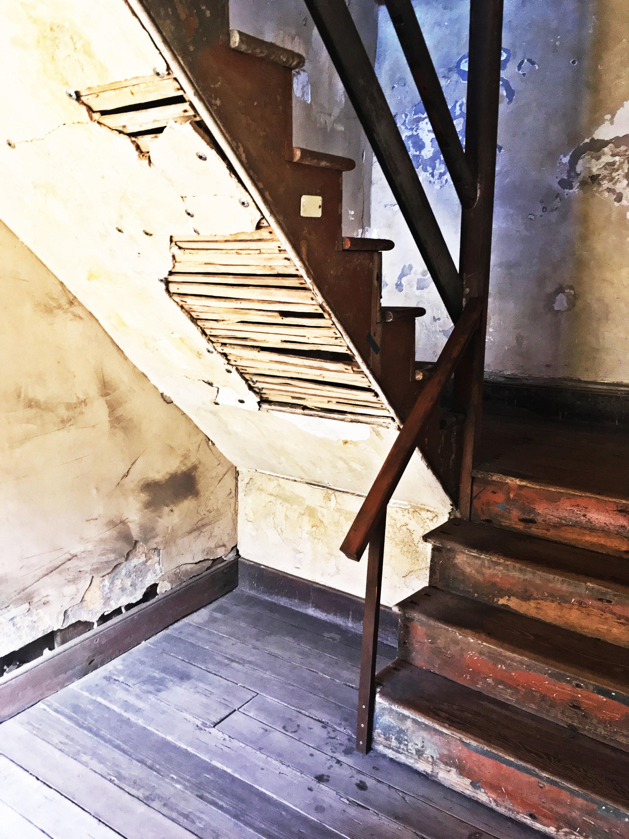 Aiken Rhett House Slave Quarters: Staircase to second