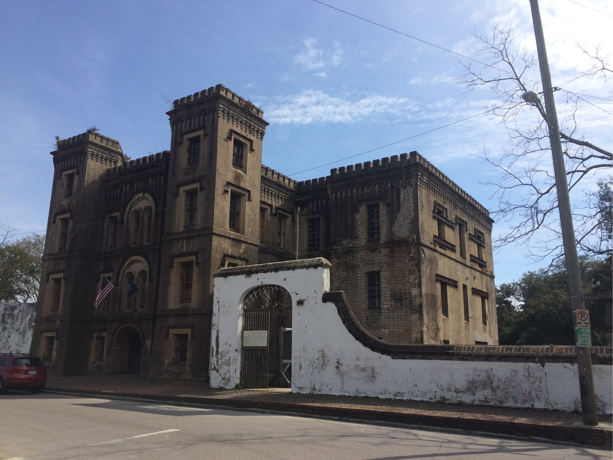 View of Old City Jail from the intersection of Magazine & wilson street