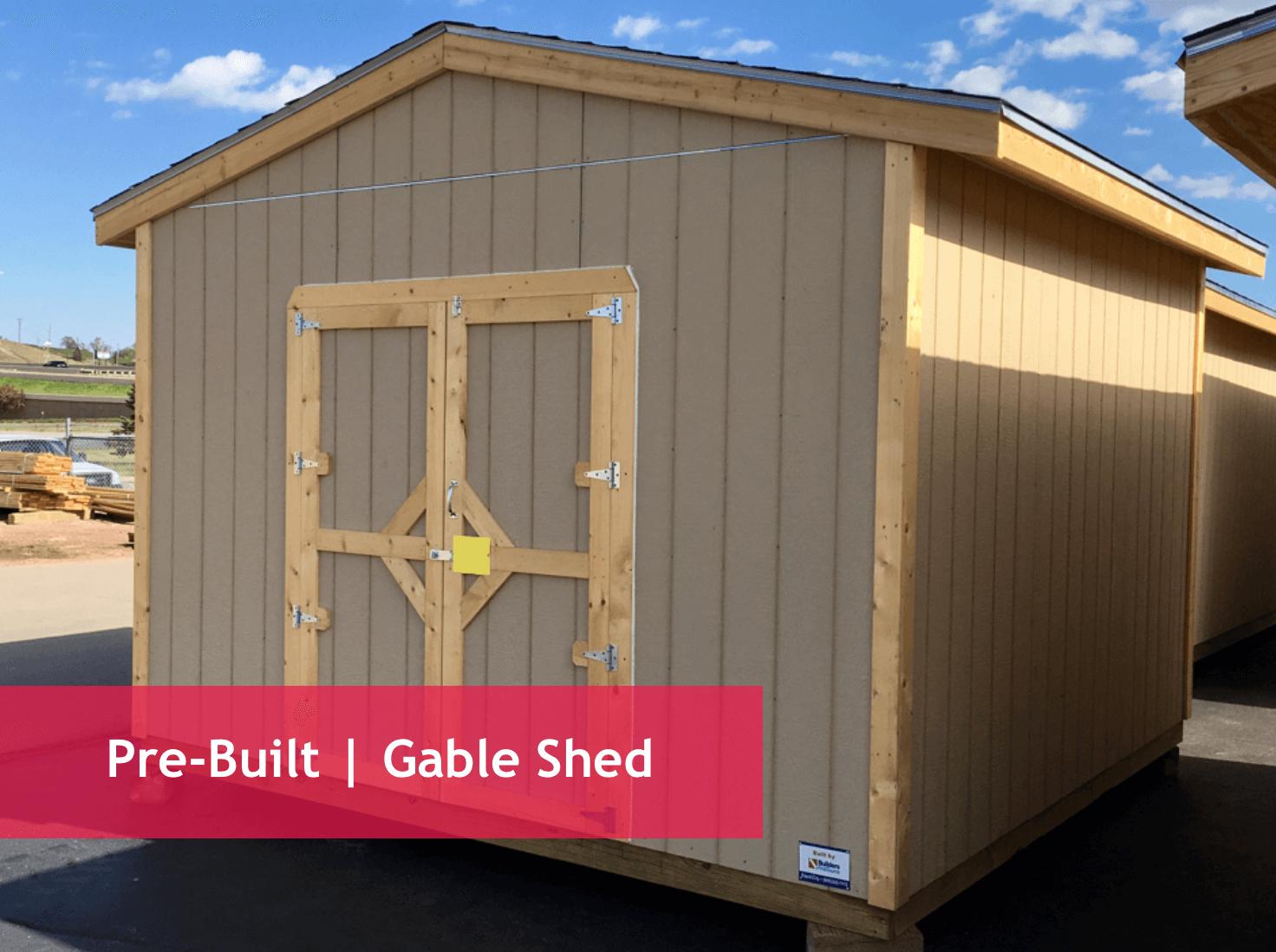 "Economy Gables (2' O.C. Walls)   8x8 | 8x10 | 8x12   Standard Gables (16"" O.C. Walls)   8x16 | 12x12 | 12x16 | 12x20  Eaves Overhangs Standard   Shed Specs:    Floor:  Treated 2x floor joists with 3/4"" T&G plywood/OSB floor   Framing : 2x4 walls with 1' eave overhangs   Walls : 7'4"" sidewall   Shingles : Laminated shingles over 15# felt   Siding : Primed LP SmartSide panel siding   Door : 4'x 6' openings on 8' wide sheds  5' x 6' openings on 12' wide sheds"
