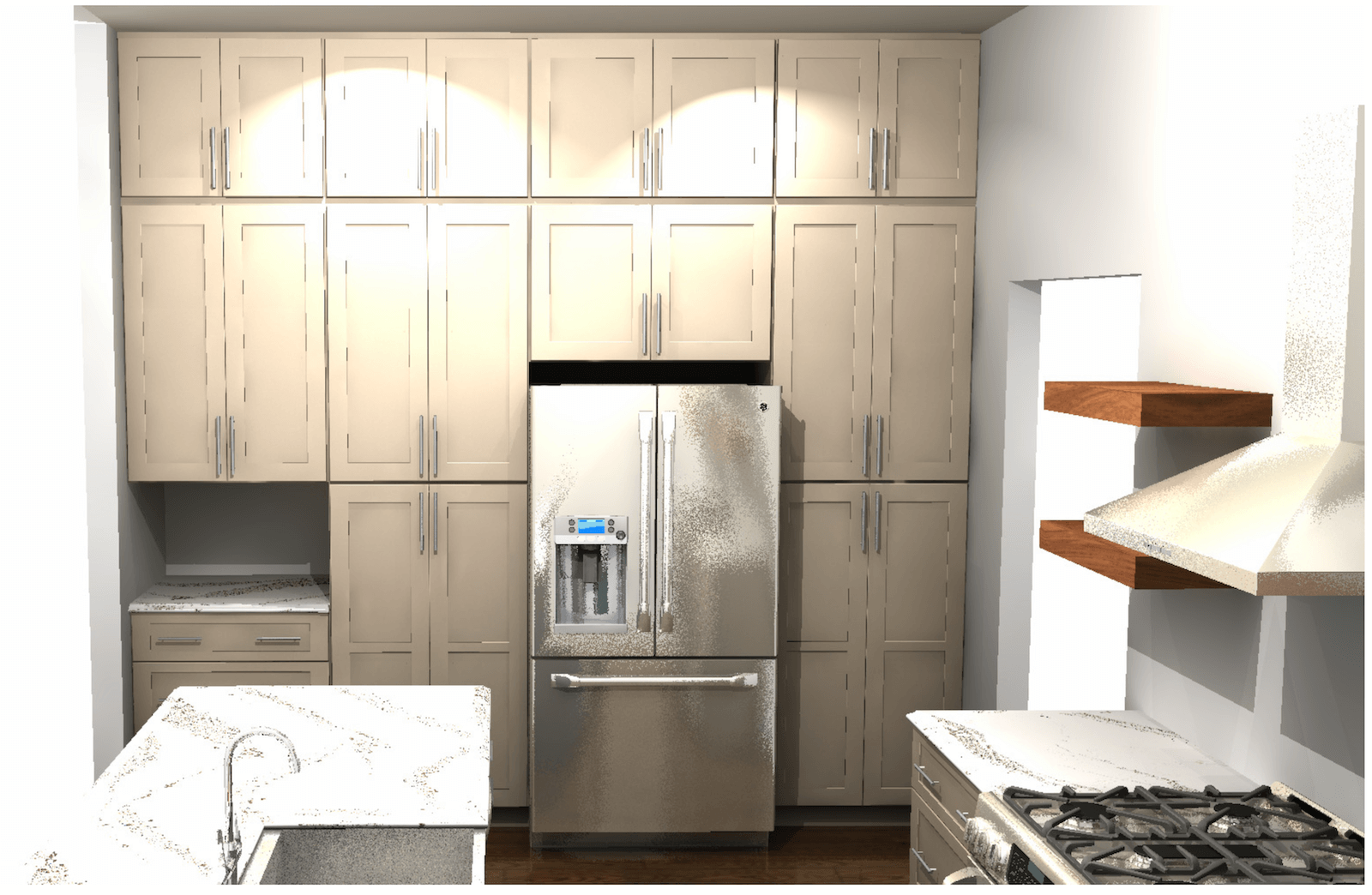 Kitchen Rendering Pantry Wall