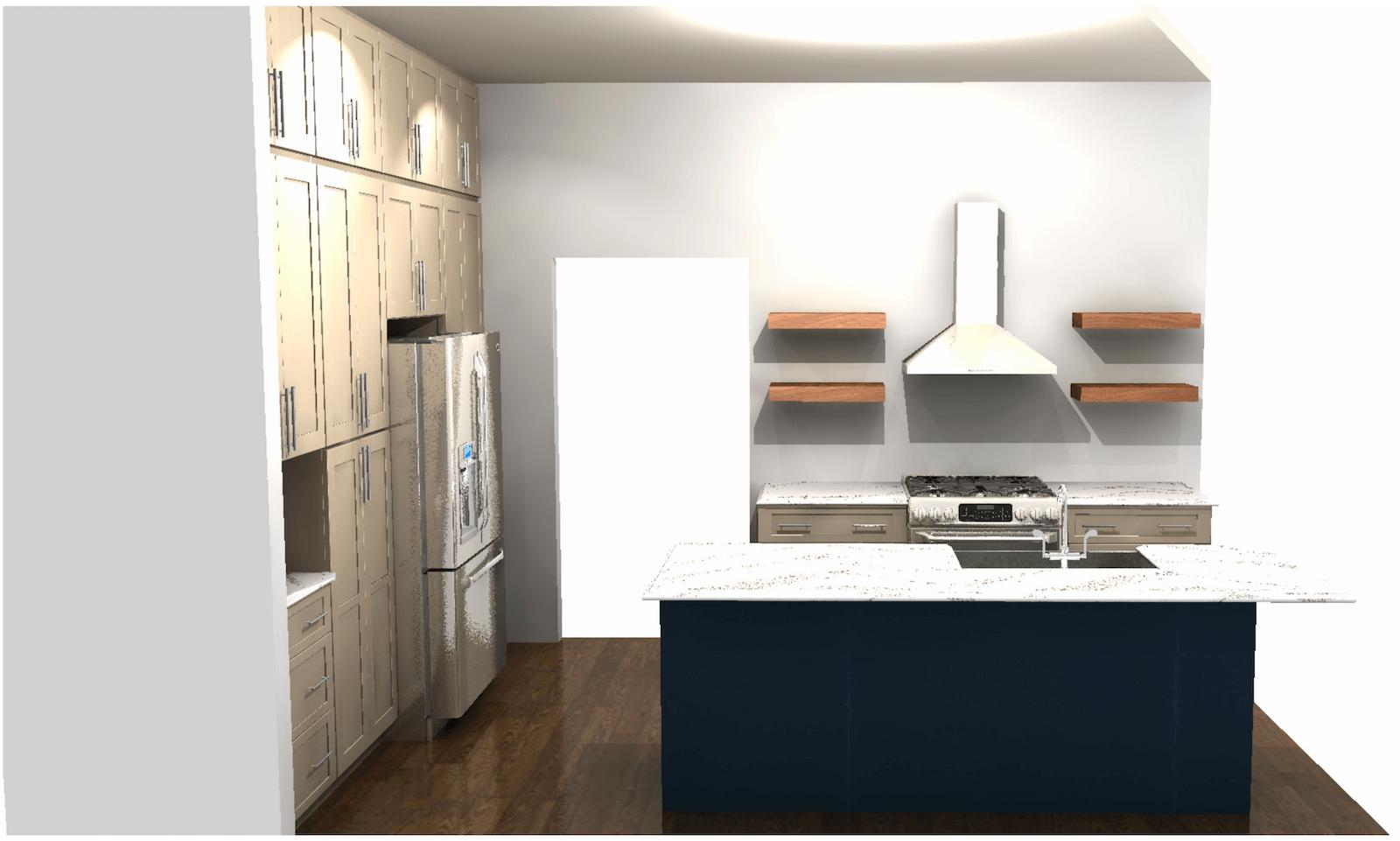 Kitchen Rendering of Island View