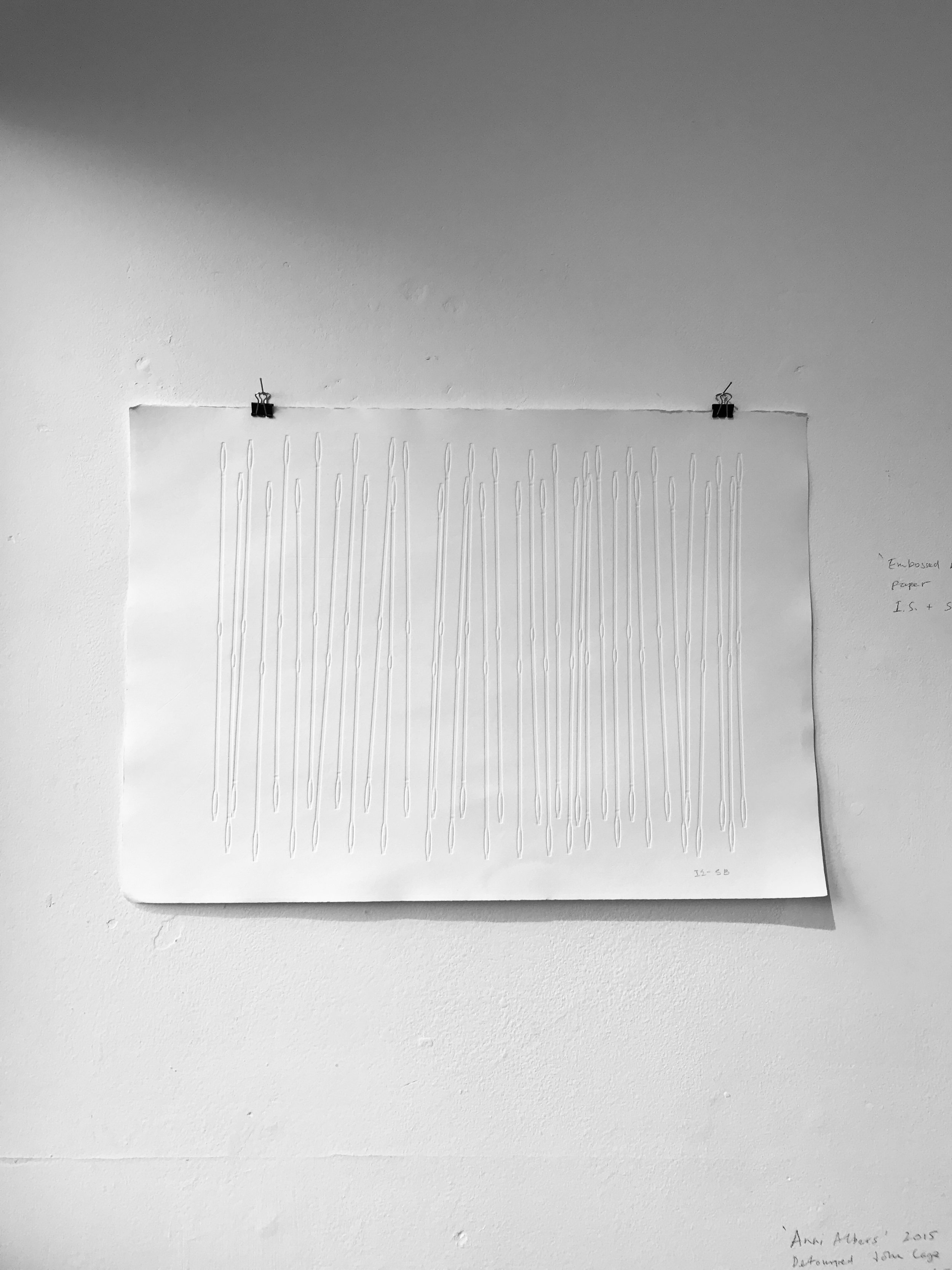 Embossed heddles on paper, 2017