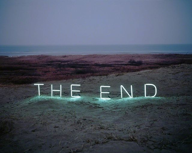 "Jung Lee, The End (2010). Image courtesy of Green Art Gallery Lee has made a big splash over the past two years, exhibiting in #Dubai and #Seoul her ""Aporia"" and ""Day and Night"" series—lush photographs of sentimental, romantic phrases written in neon and set amidst harsh, often barren landscapes. Her work is inspired by a Roland Barthes essay, A Lover's Discourse, in which an allegorical figure endlessly searches for signs that she is in love."