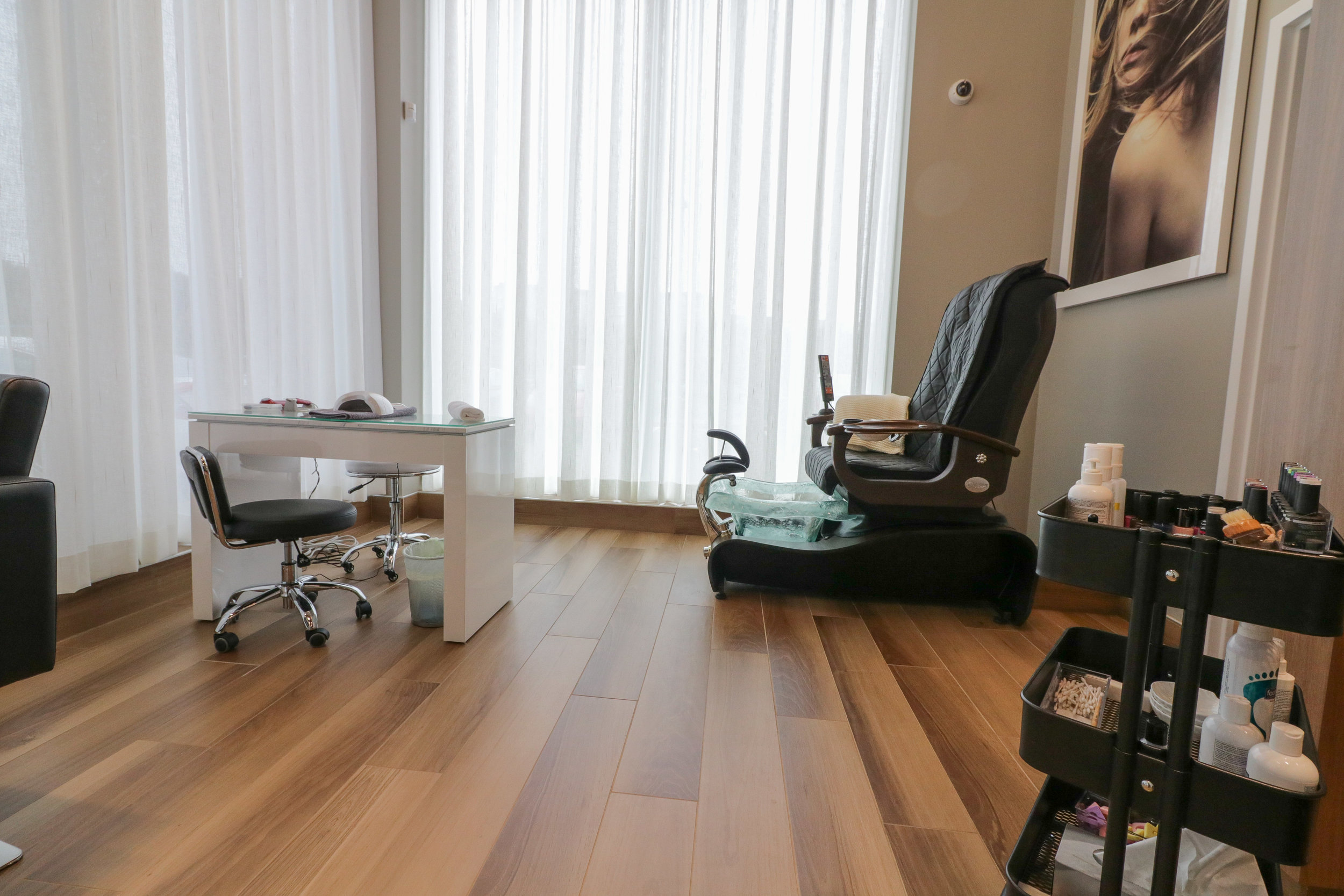 Massage and Pedicure Chair with Manicure table at Portland Street Spa