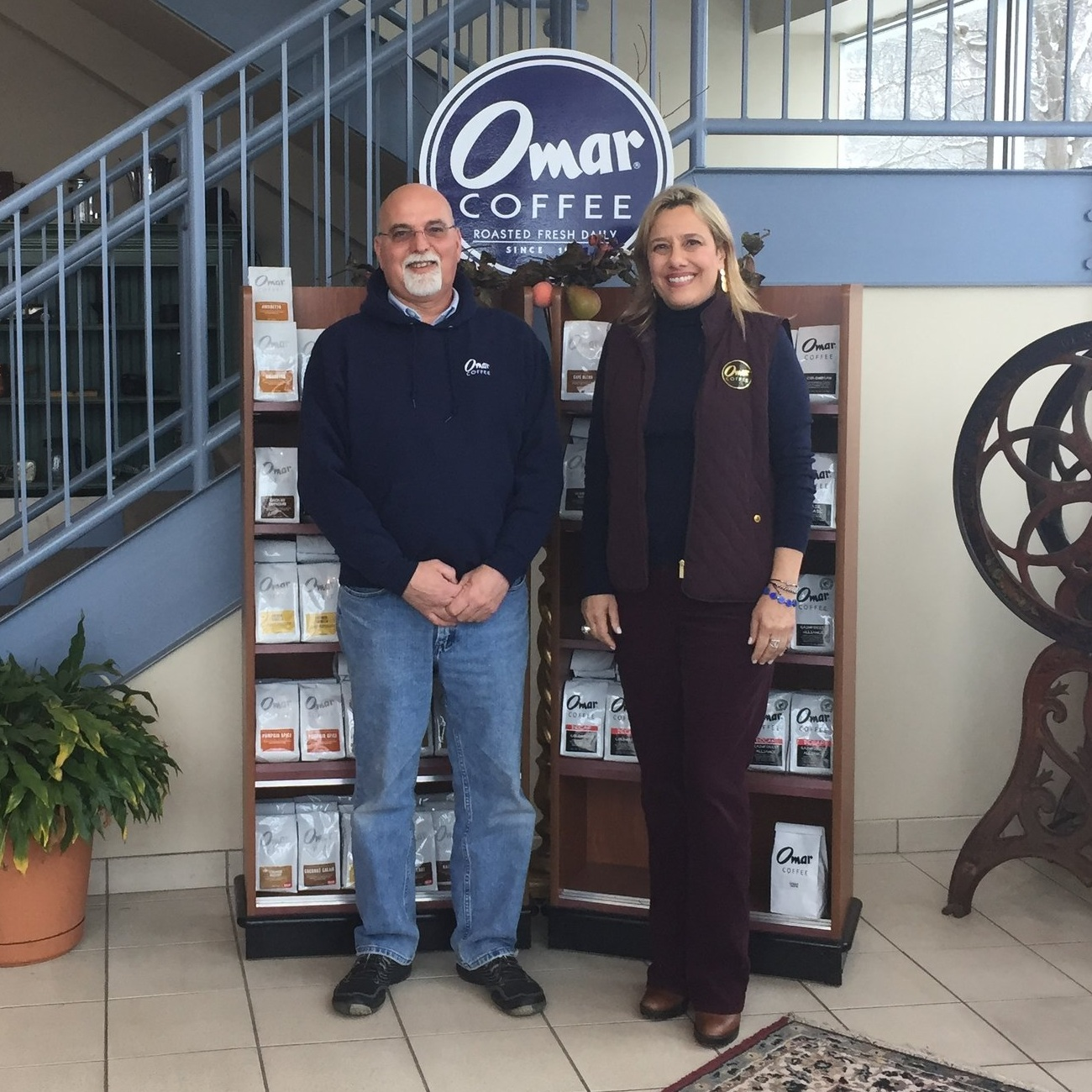 Kevin McDermott (left) and Joanne Lemnios (right) of Omar Coffee