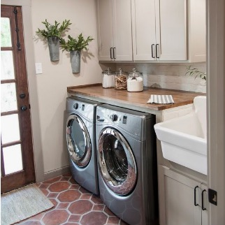 Little things like an organized space to do laundry make #momlife so much more pleasant. We are currently remodeling ours, and  my Pinterest board  is full of inspo like this photo. Simple, practical, and pretty!