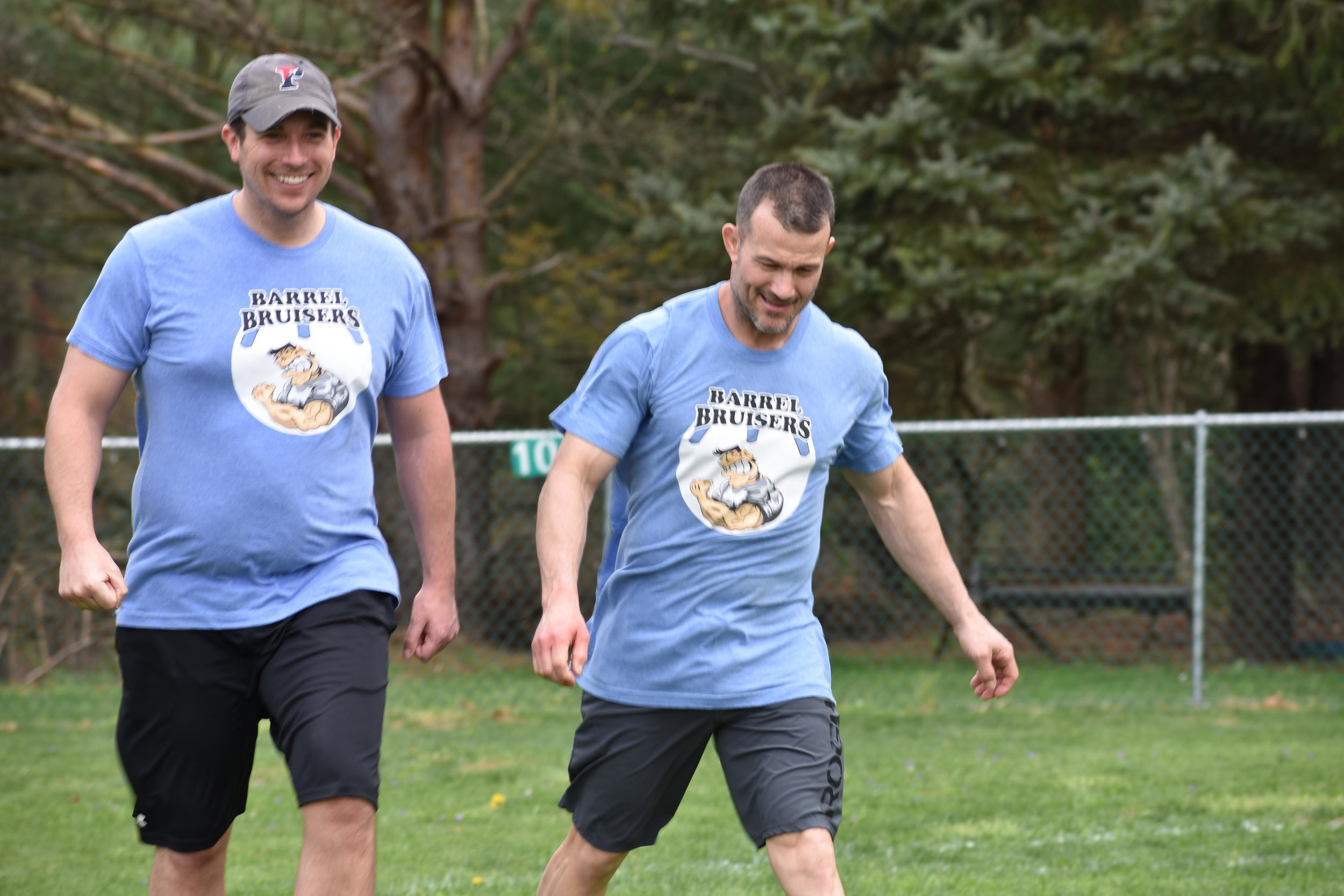 The Barrel Bruisers (L:R Chris Owen, Jerry Hill) were feeling good after downing the Longballs in their opener, 8-2. (April 20, 2019)