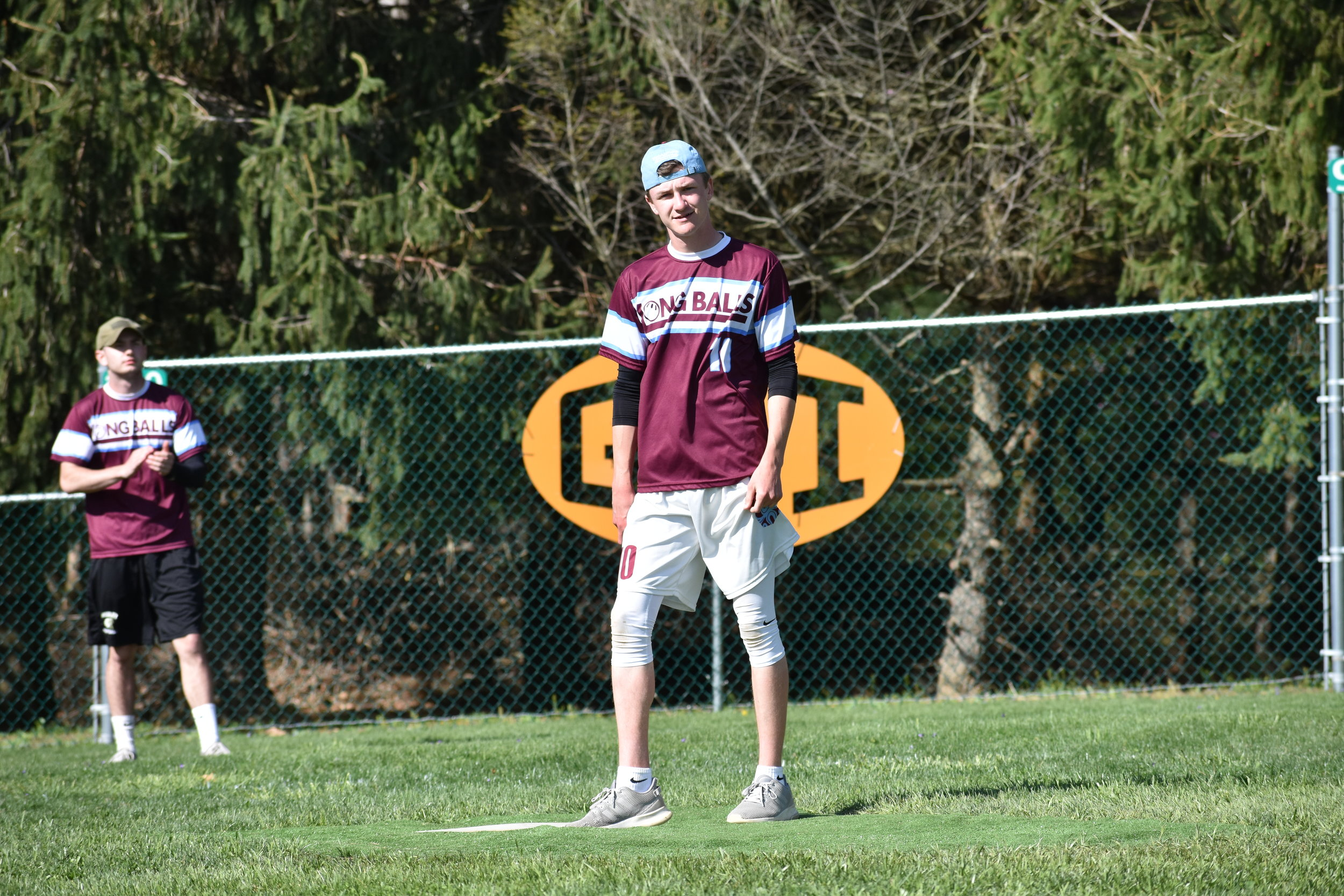Getting ready to go into (one of his many) pitching motions, the Longball's Tommy Loftus catches the camera. (April 20, 2019)