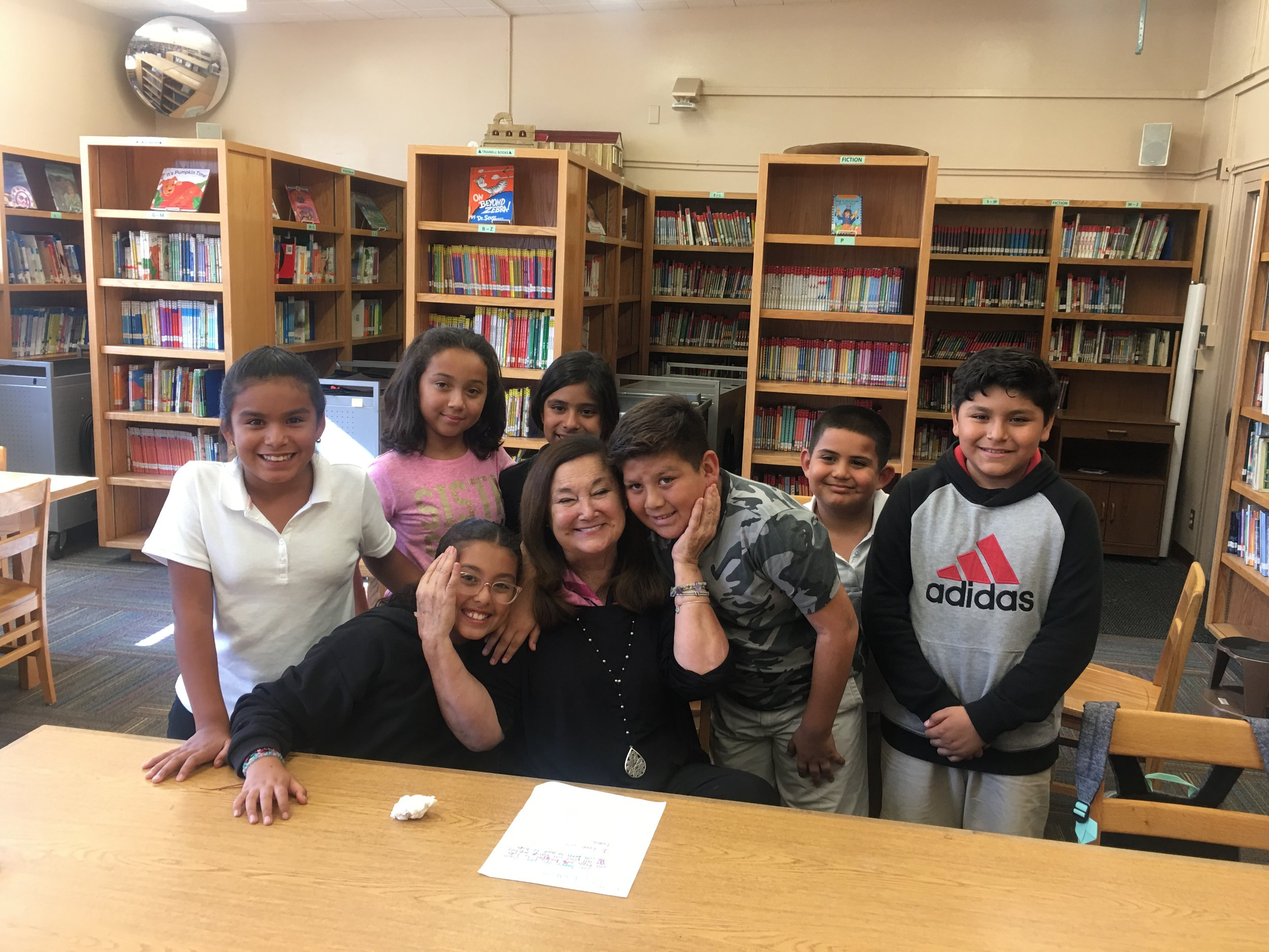 """Our Founder Maria D'Angelo at Telfair Elementary in Pacoima with some super-sweet LA's BEST students! They did a great, on-camera Q&A with Maria, which will be screened at the LA's BEST Family Brunch on November 3rd, where Maria will receive their """"Children's Champion"""" Award…"""