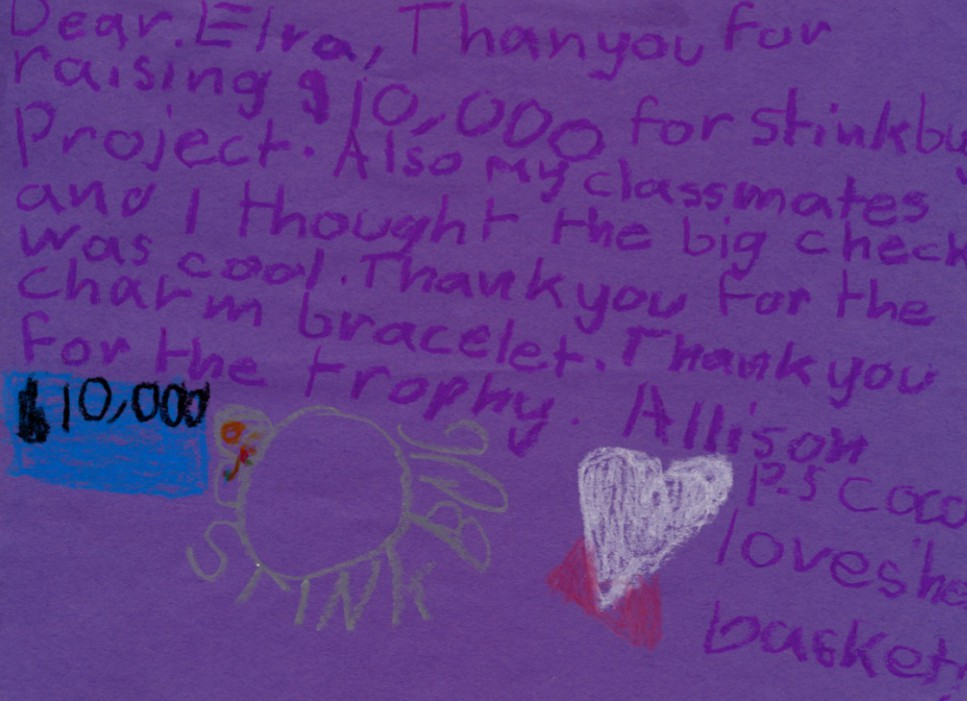 Thank-you note from The Stink Bug Project, Allison Winn