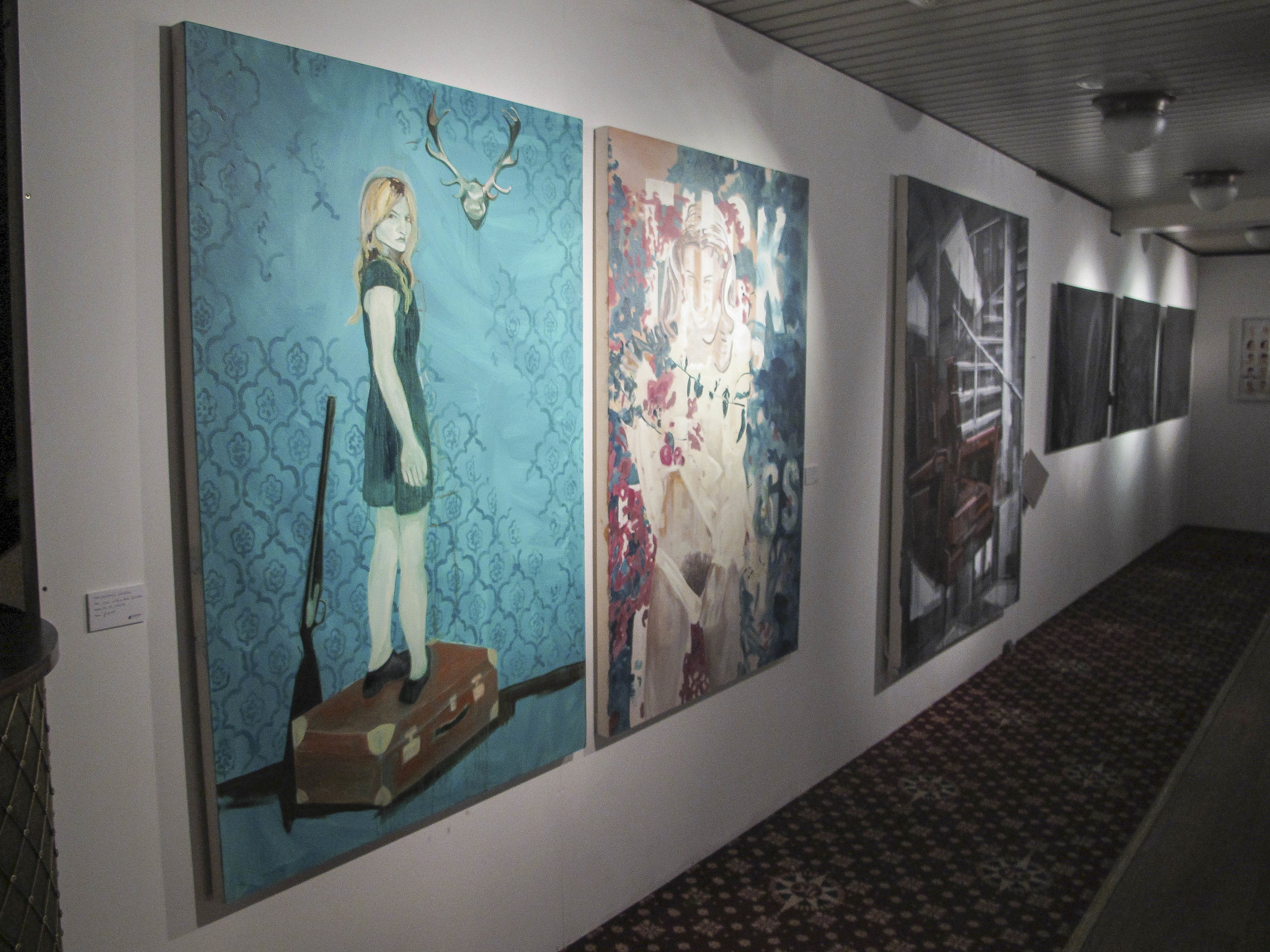 Two paintings on display at Float Art London, group exhibition by Oxo Tower, London. July 2013 -  Untitled  sold at the show
