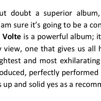 The first album review came out today! #volte #rock #powerful #superior #exhilarating