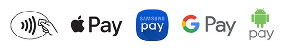 NFC, Apple Pay, Samsung Pay, Google Pay, and Andriod Pay are available for Mobile Wallet