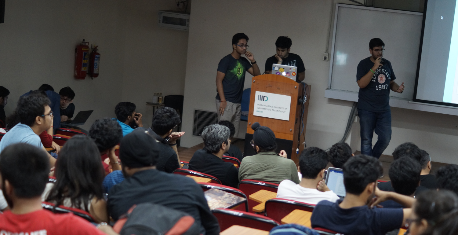 Chaitanya and Manav control the demo while I present on stage.