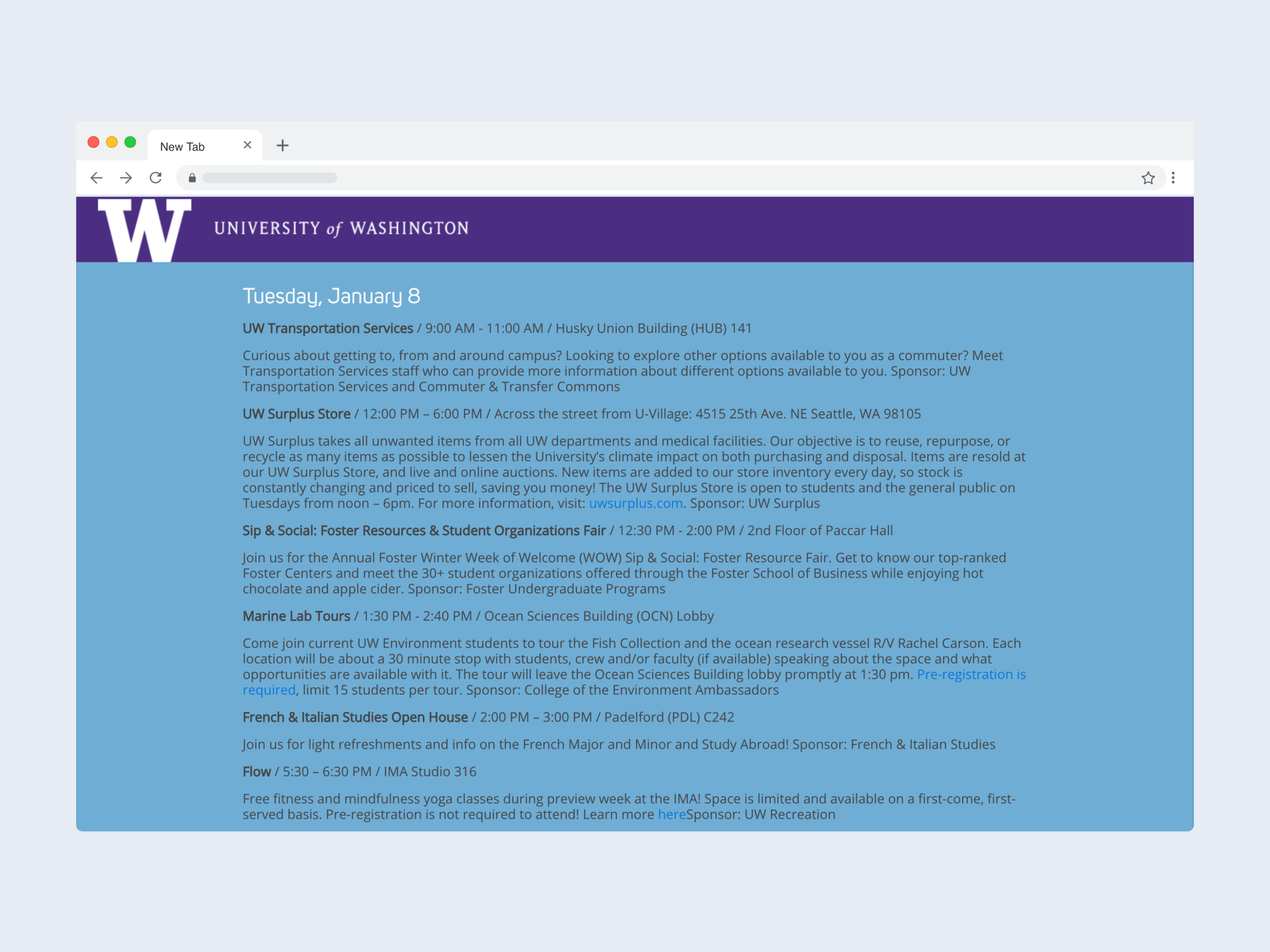 UW's current website for orientation events