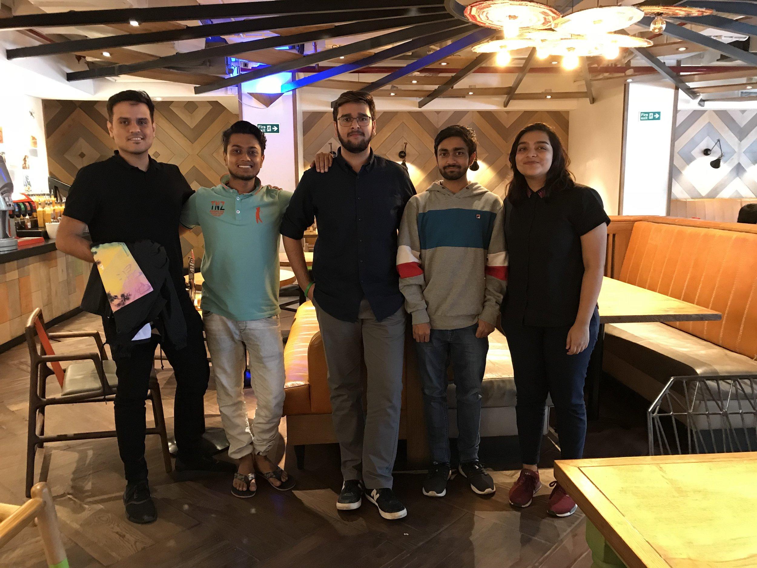 Unacademy Design Team (L to R): Abhinav, Neelank, Me, Prithvi, and Sneha