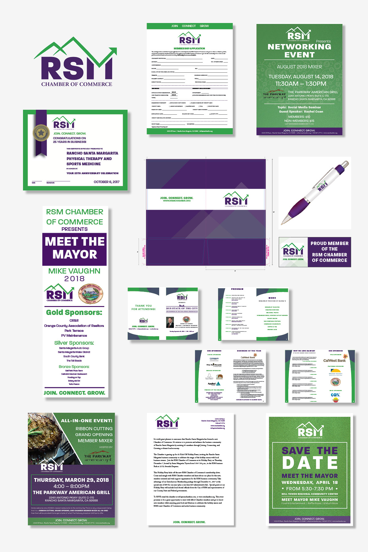 RSM CHAMBER OF COMMERCE   For over a year, Brand Hatch's founder, Rachel Coan, has been VP of Marketing and Communications for the RSM Chamber of Commerce and currently sits on the Board of Directors. She is in charge of all Marketing, Design, and Communication for the Chamber. This is a sample of the brand she developed.