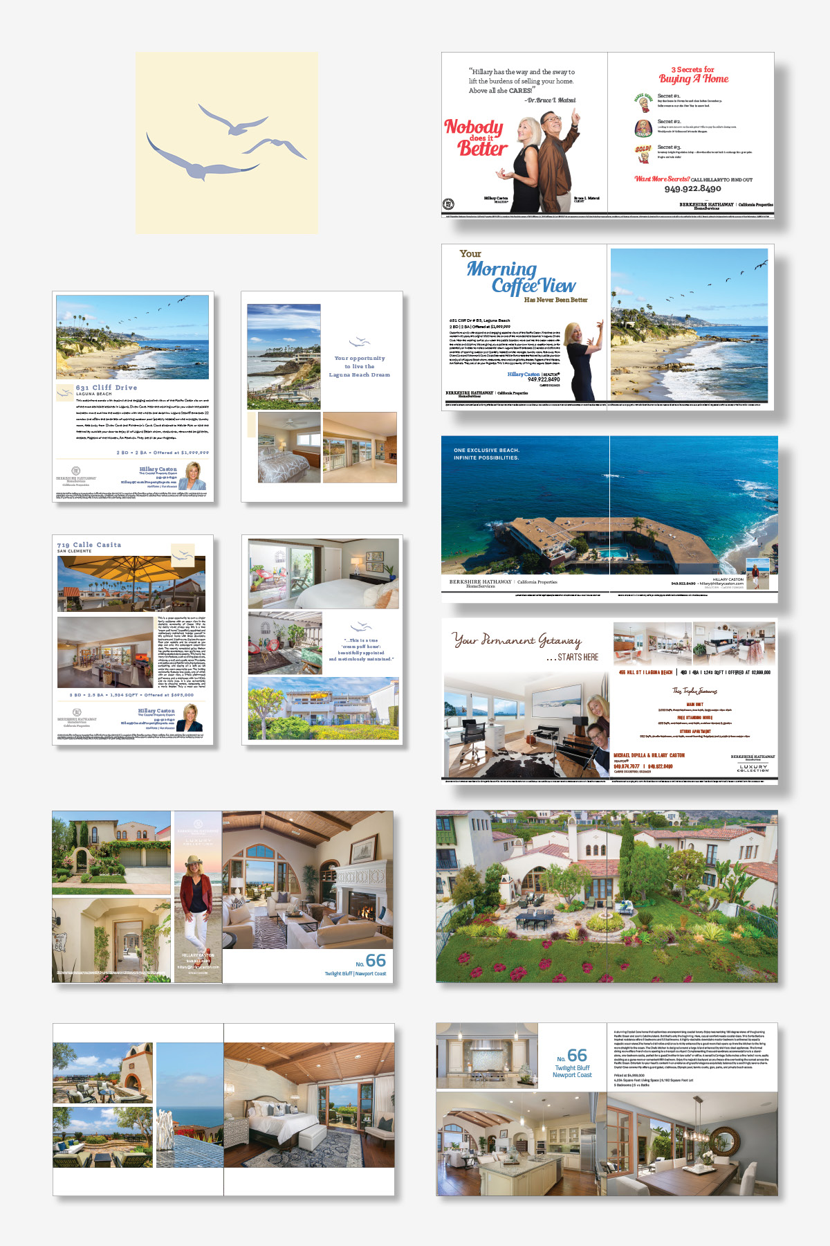 THE COASTAL PROPERTY EXPERT   This brand was developed for Hillary Caston, a REALTOR® in Laguna Beach, California. On top of the collateral design, Brand Hatch has developed video, social media marketing plans, and email campaigns.